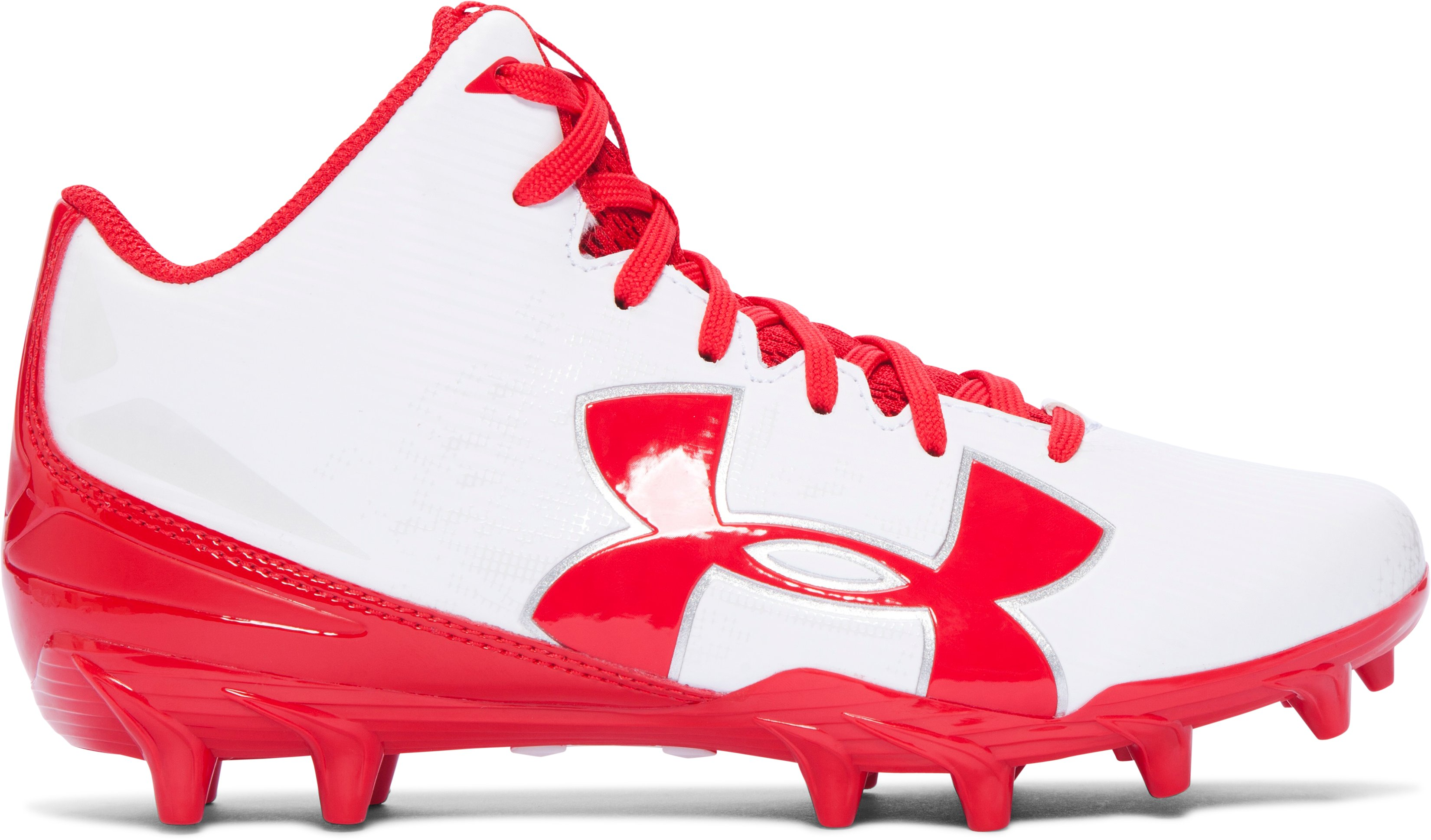 Boys' UA Fierce Phantom Mid MC Jr. Football Cleats, White