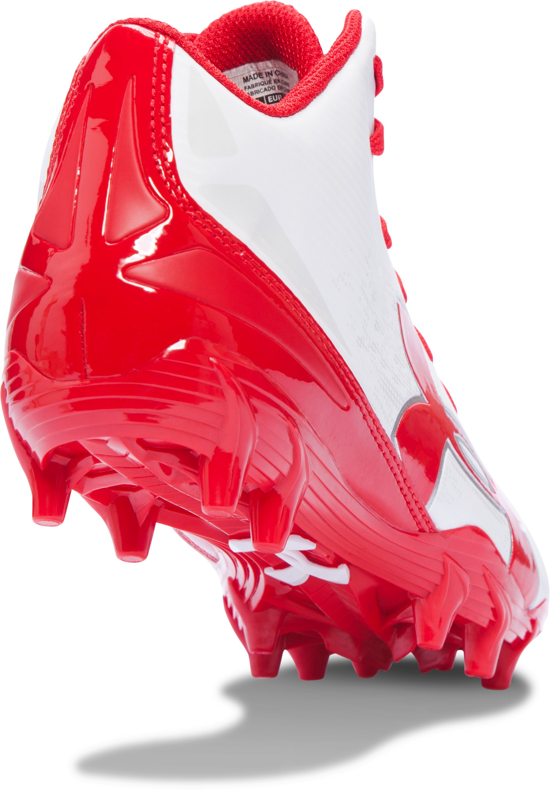 Boys' UA Fierce Phantom Mid MC Jr. Football Cleats, White,