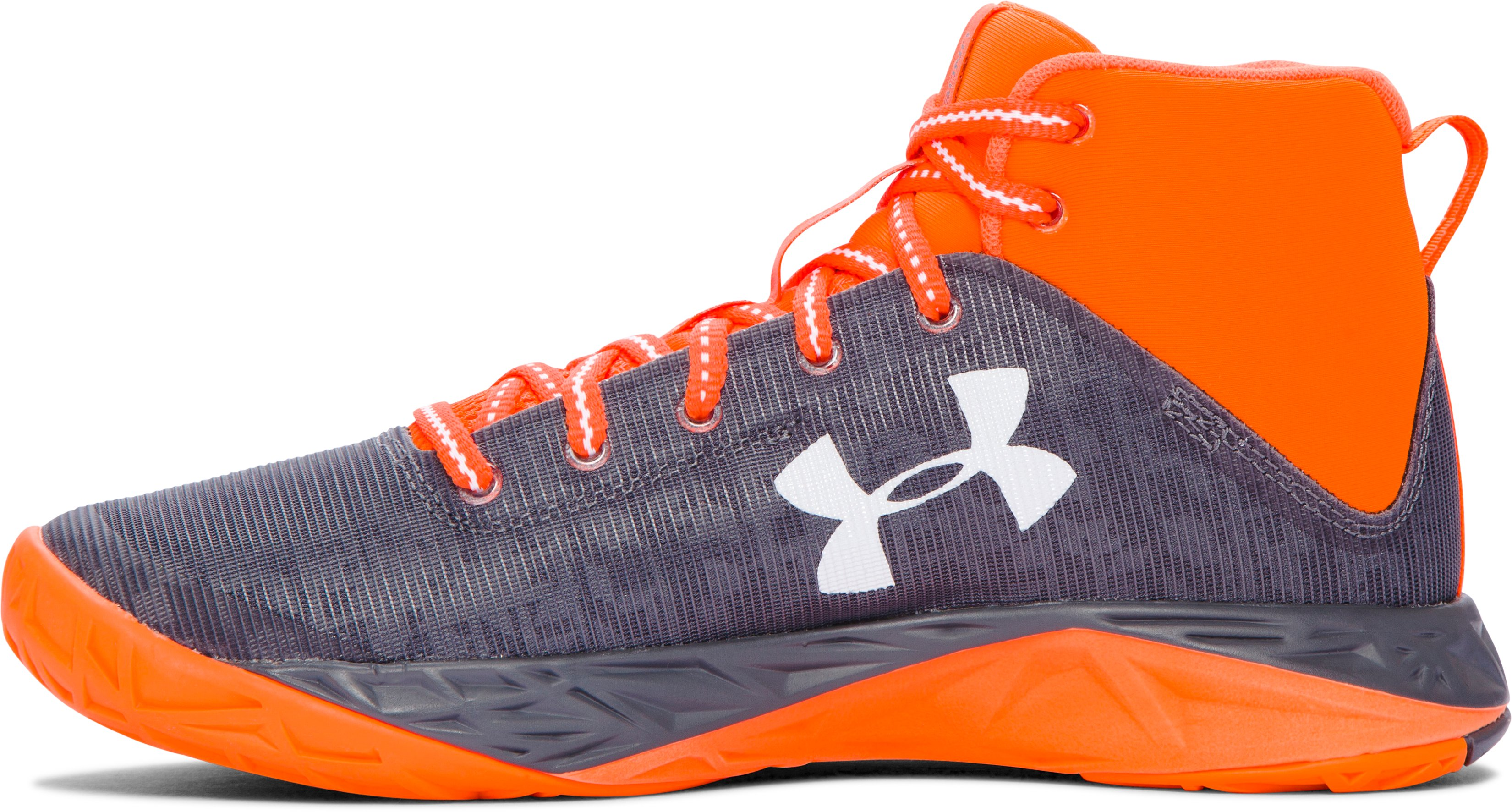 Boys' Grade School UA Fireshot Basketball Shoes, Graphite, undefined