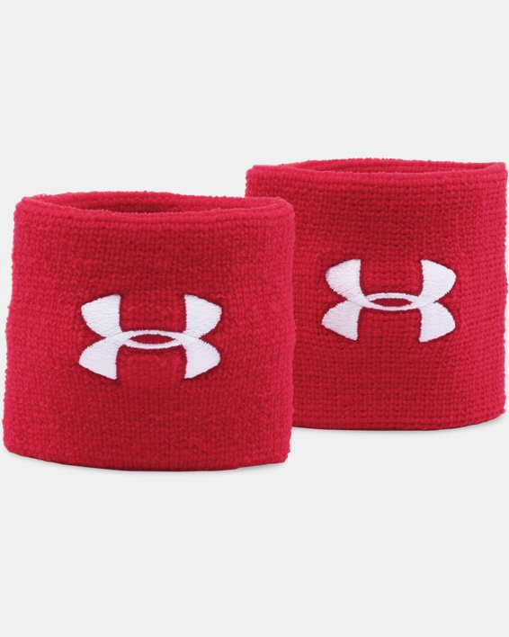 "Men's UA 3"" Performance Wristband - 2-Pack, Red, pdpMainDesktop image number 0"