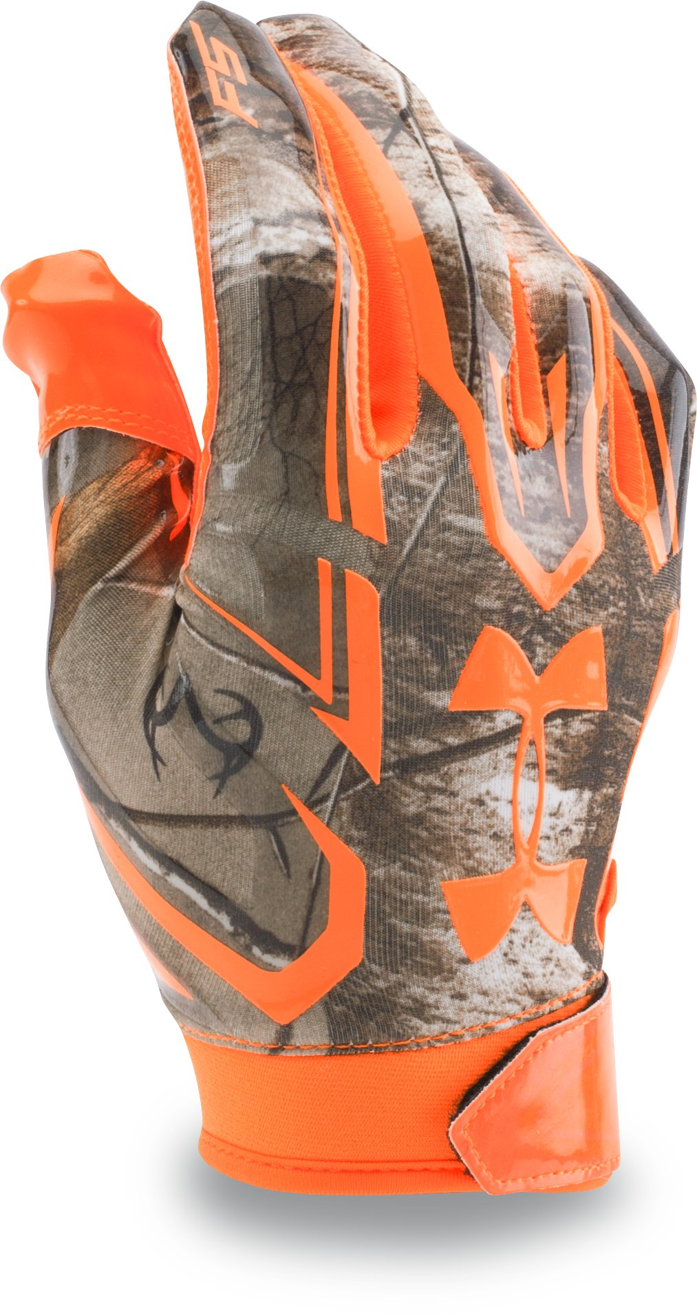 Men's UA F5 Camo Football Gloves, Realtree AP