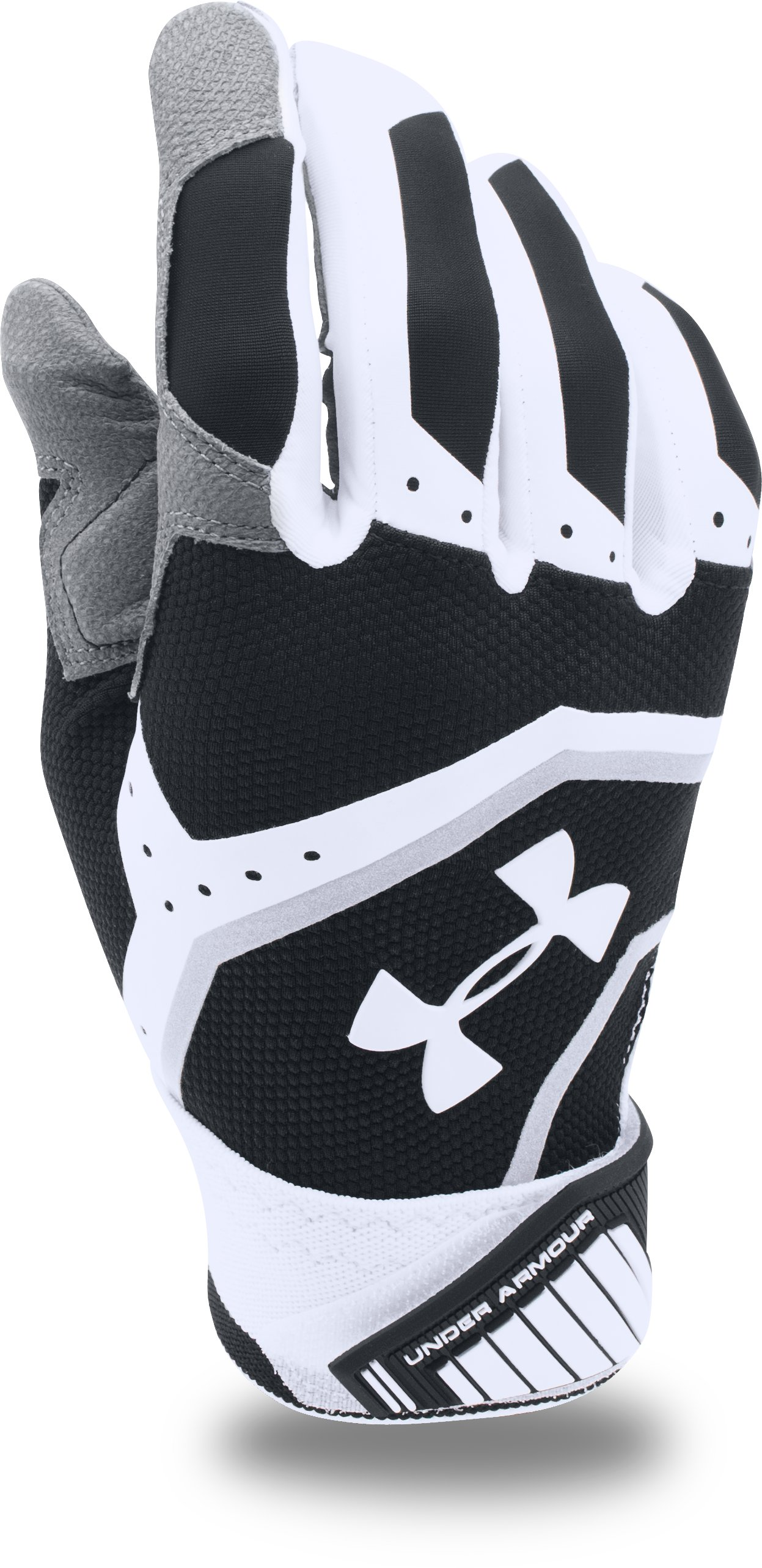 Men's UA Cage Batting Gloves, Black ,