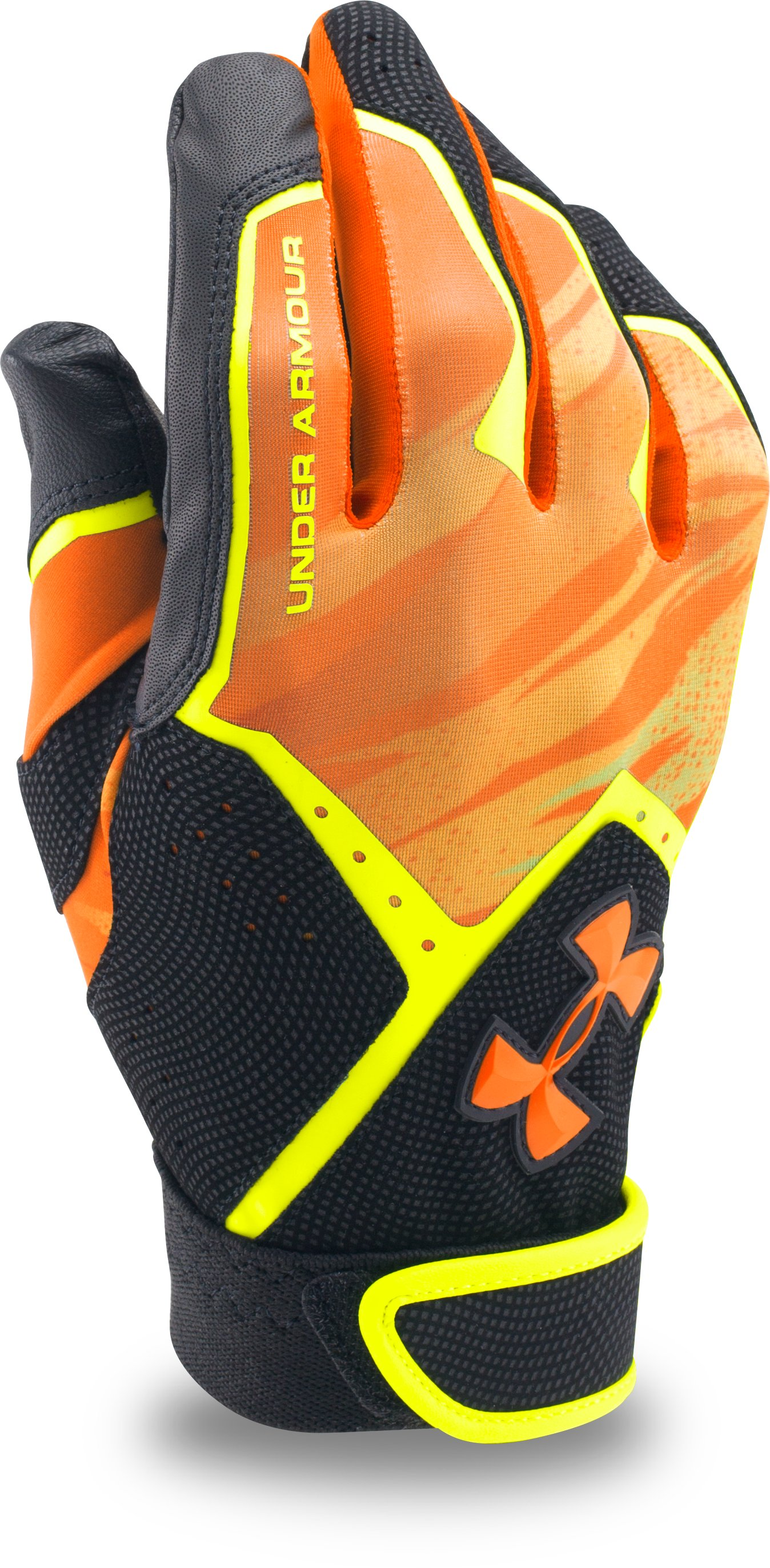 Men's UA Clean Up Graphic Print Batting Gloves, High-Vis Yellow
