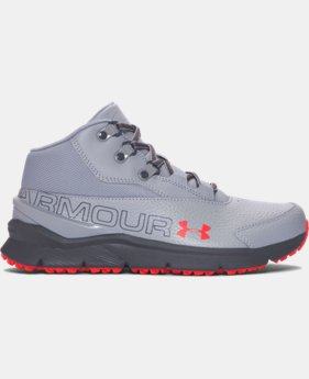 Boys' Grade School UA Overdrive Mid Tumbled Leather Running Shoes   $59.99