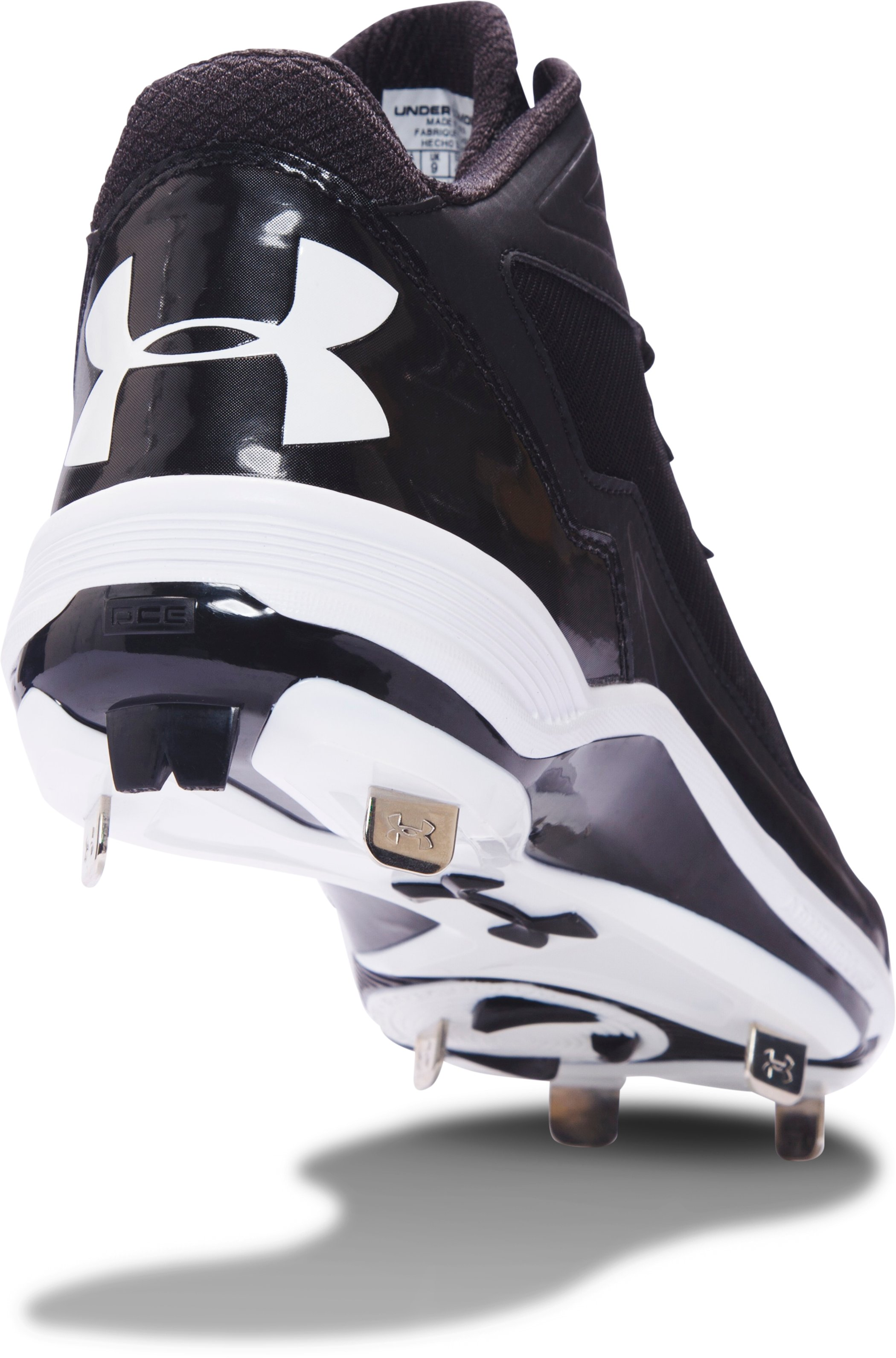 Men's UA Ignite Mid Steel Baseball Cleats, Black ,