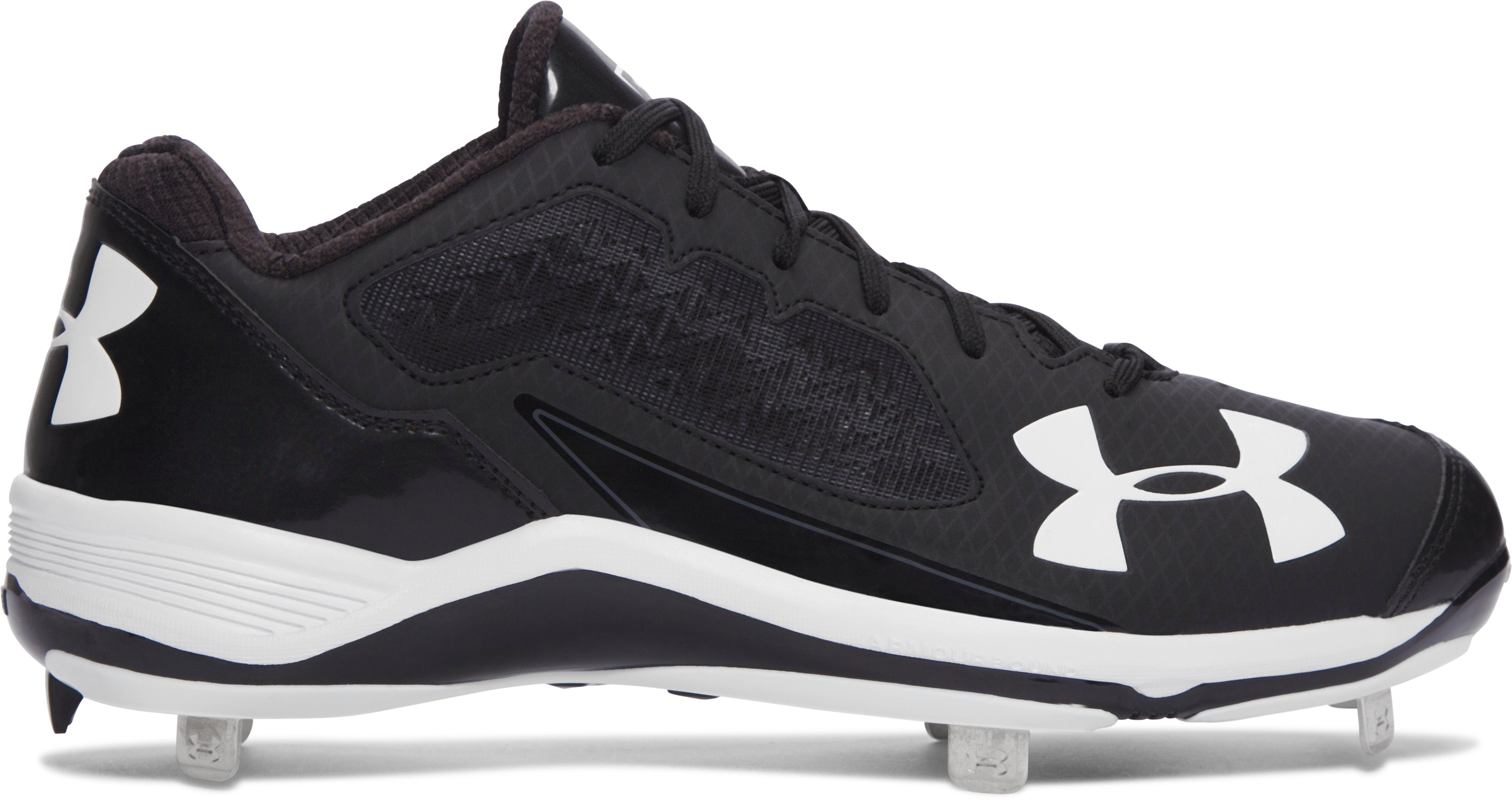 Men's UA Ignite Low Steel Baseball Cleats, Black , zoomed image