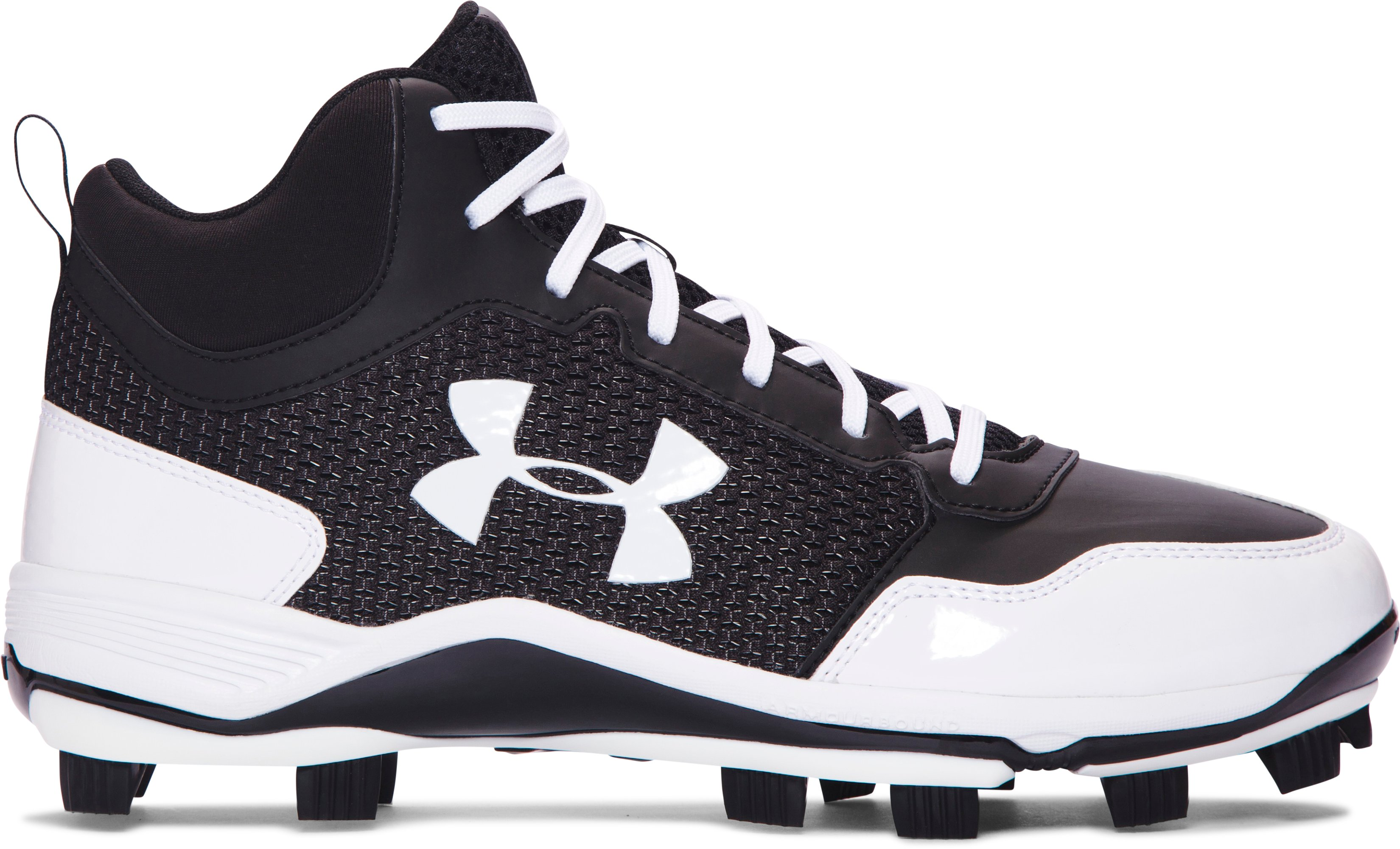 Men's UA Heater Mid TPU Baseball Cleats, Black