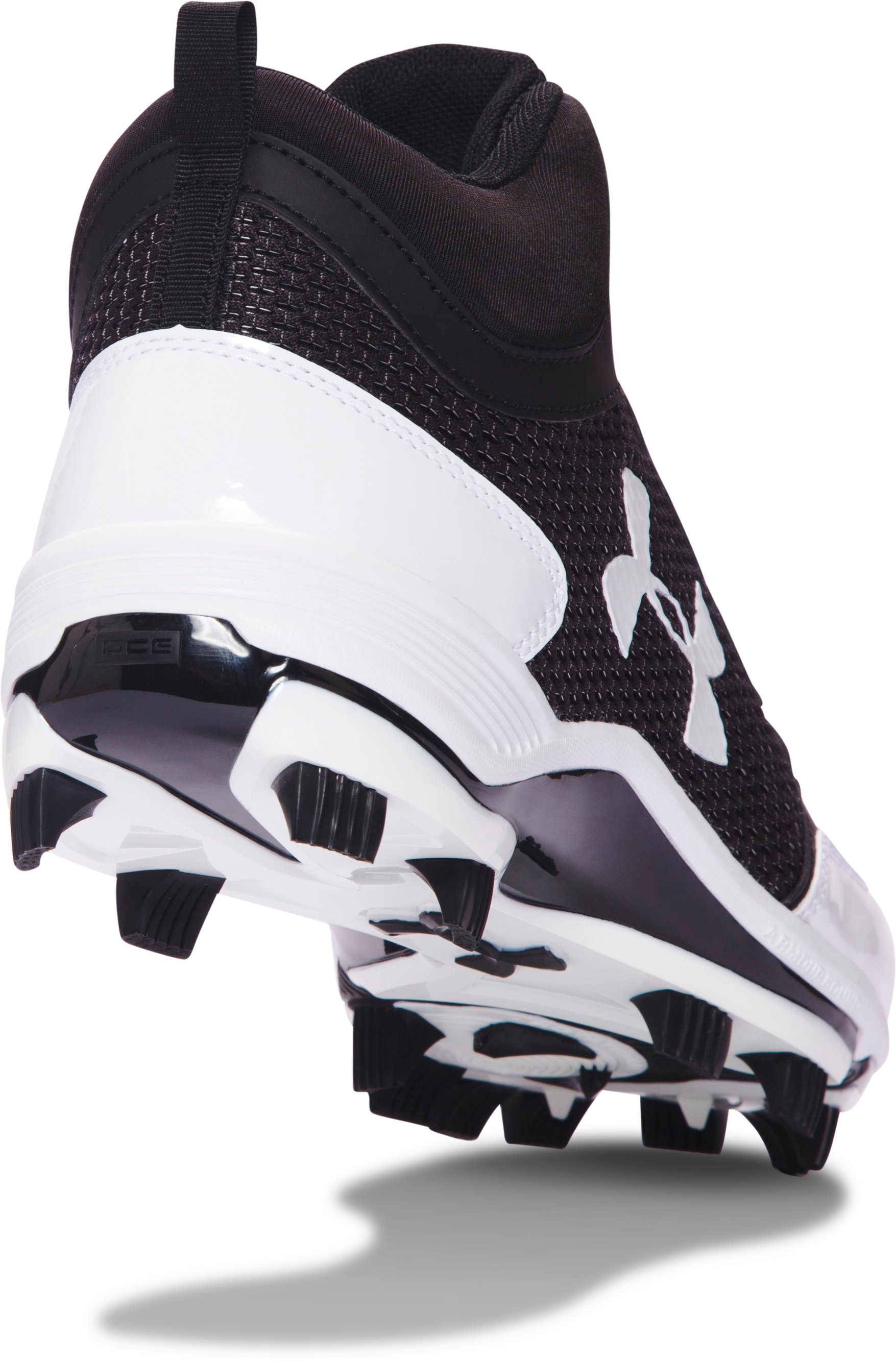 Men's UA Heater Mid TPU Baseball Cleats, Black ,