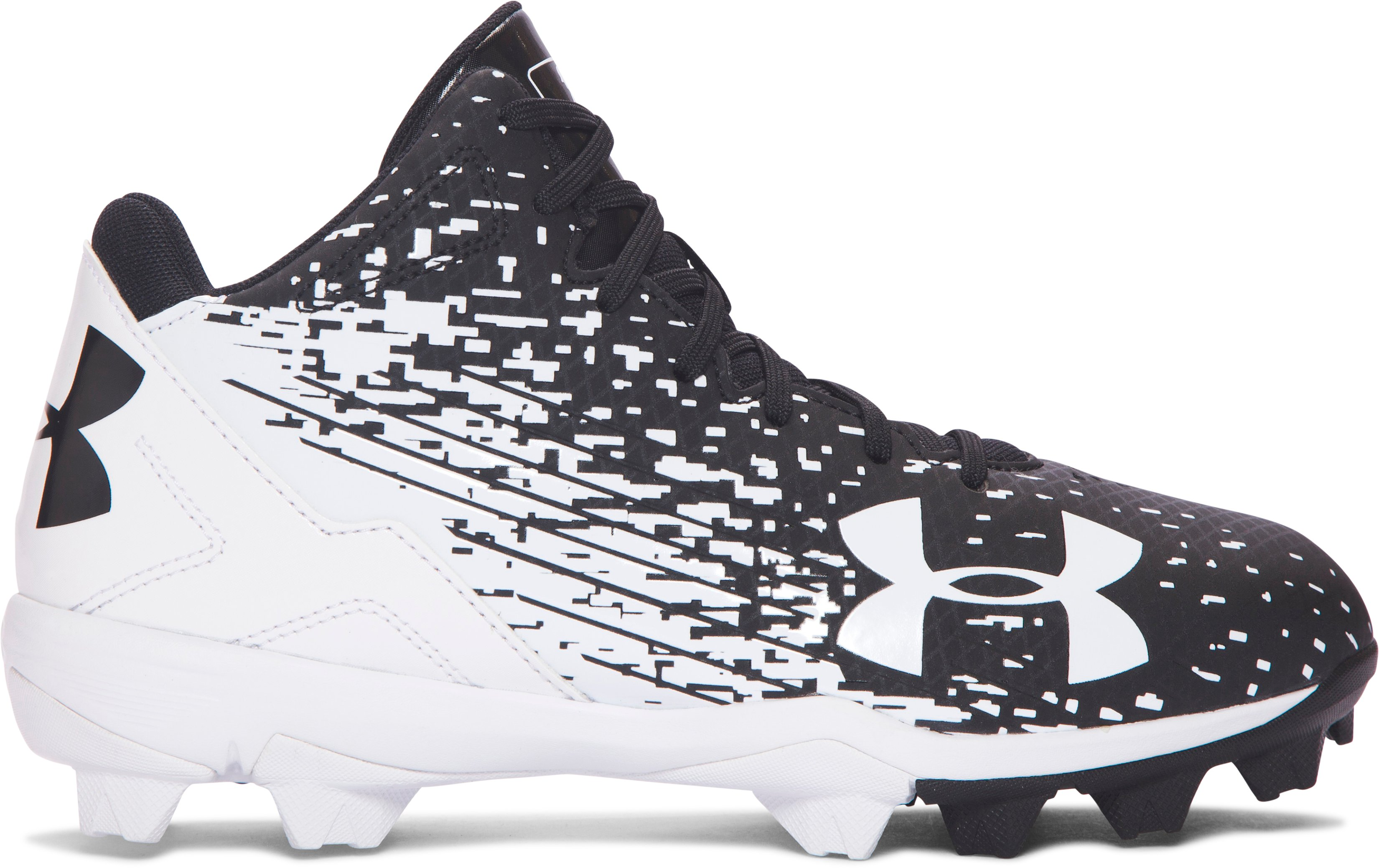 Boys' UA Leadoff Mid RM Jr. Baseball Cleats, Black ,