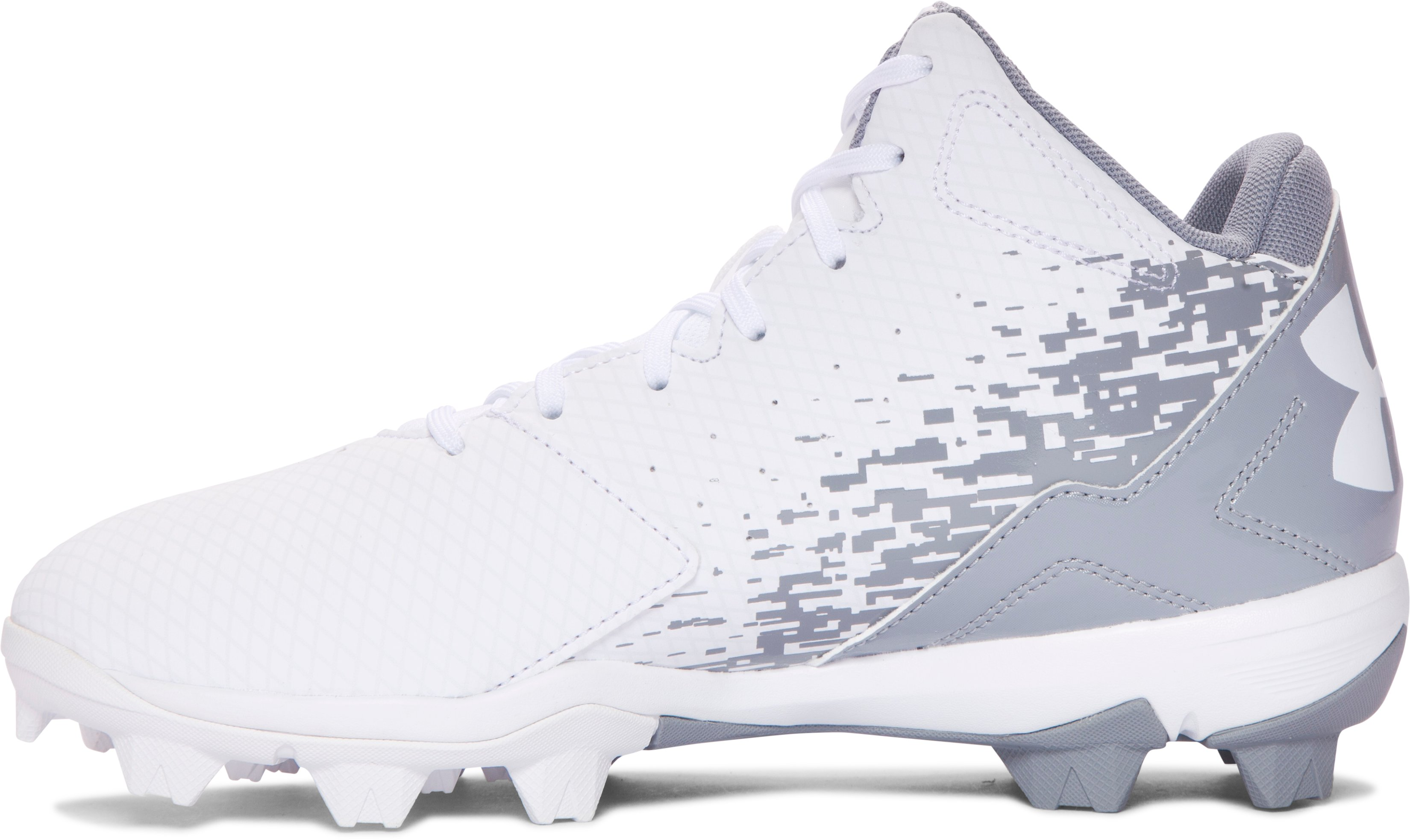 Boys' UA Leadoff Mid RM Jr. Baseball Cleats, White,