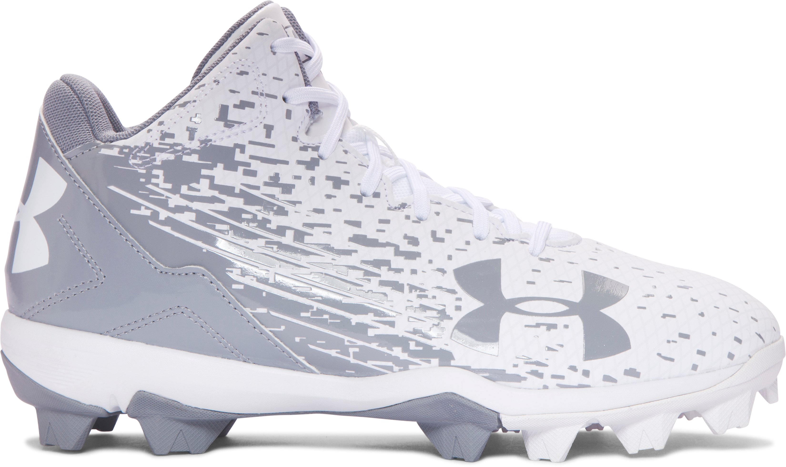 Boys' UA Leadoff Mid RM Jr. Baseball Cleats, White