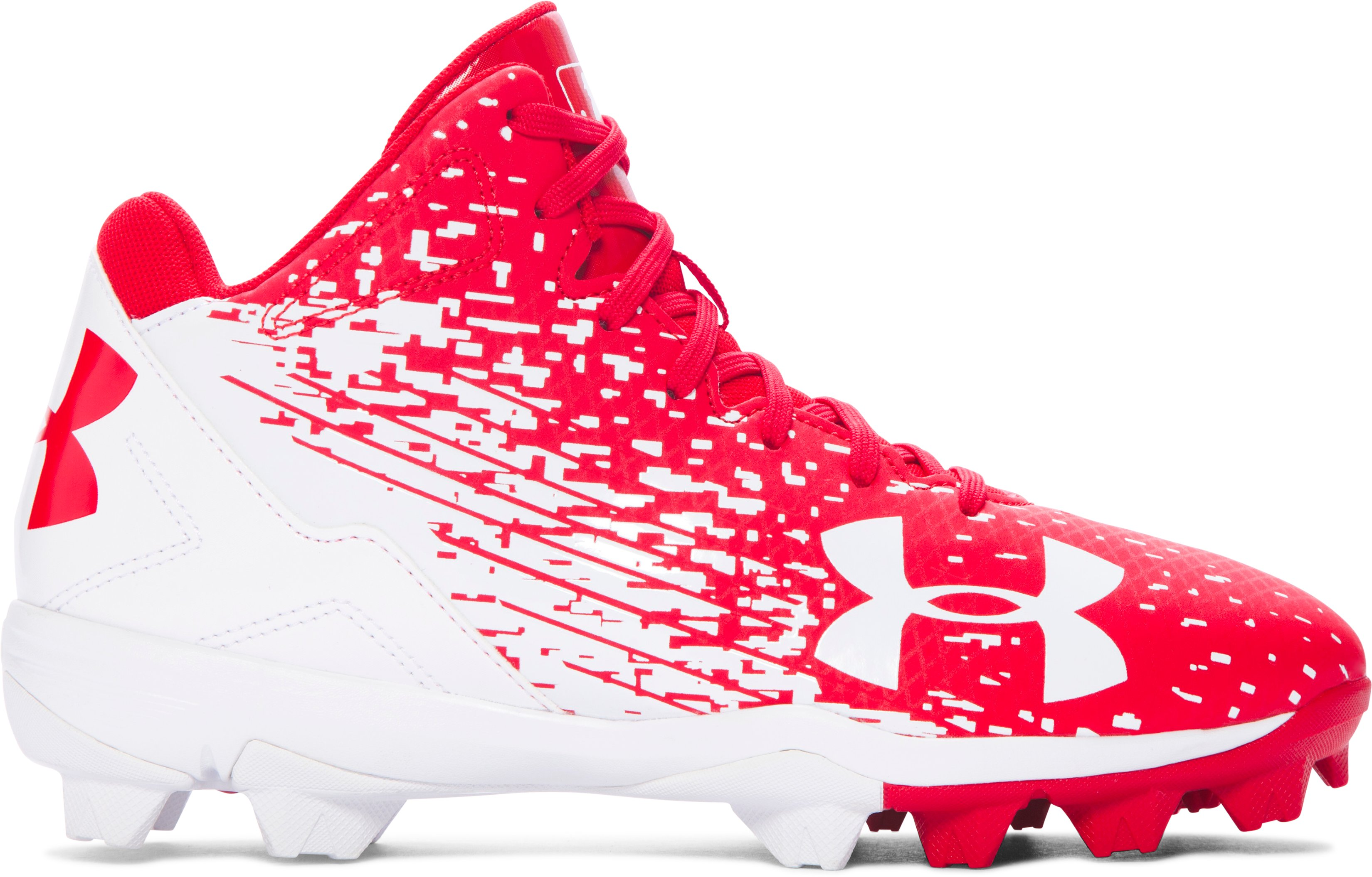 Boys' UA Leadoff Mid RM Jr. Baseball Cleats, Red, undefined
