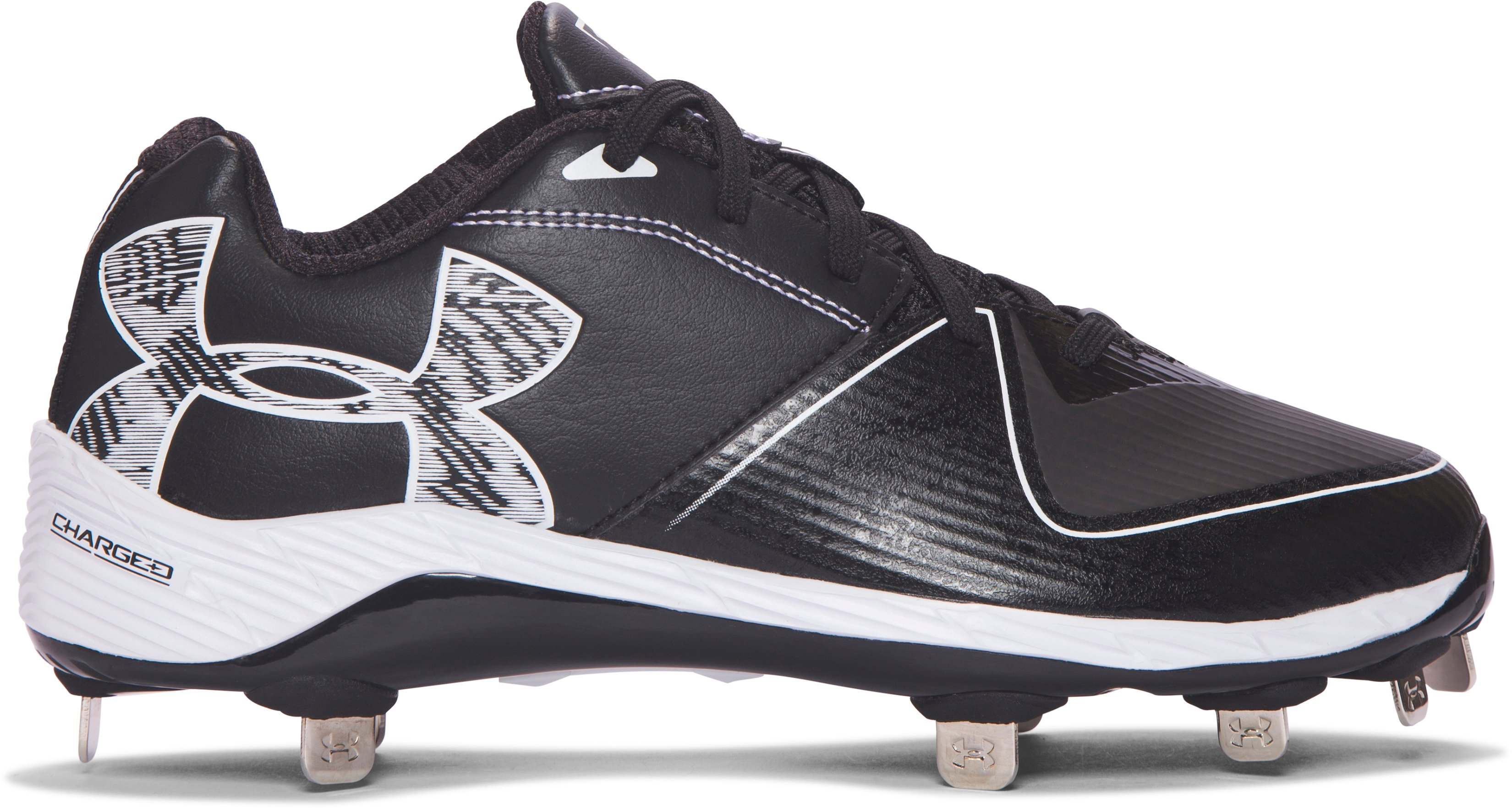 Women's UA Glyde 2.0 ST Softball Cleats, Black , zoomed image