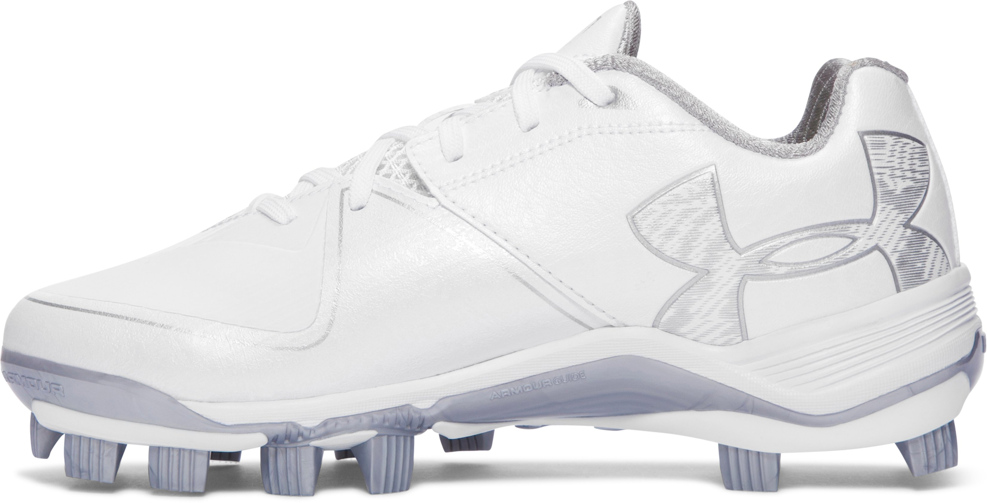 Women's UA Glyde 2.0 TPU Softball Cleats, White, undefined