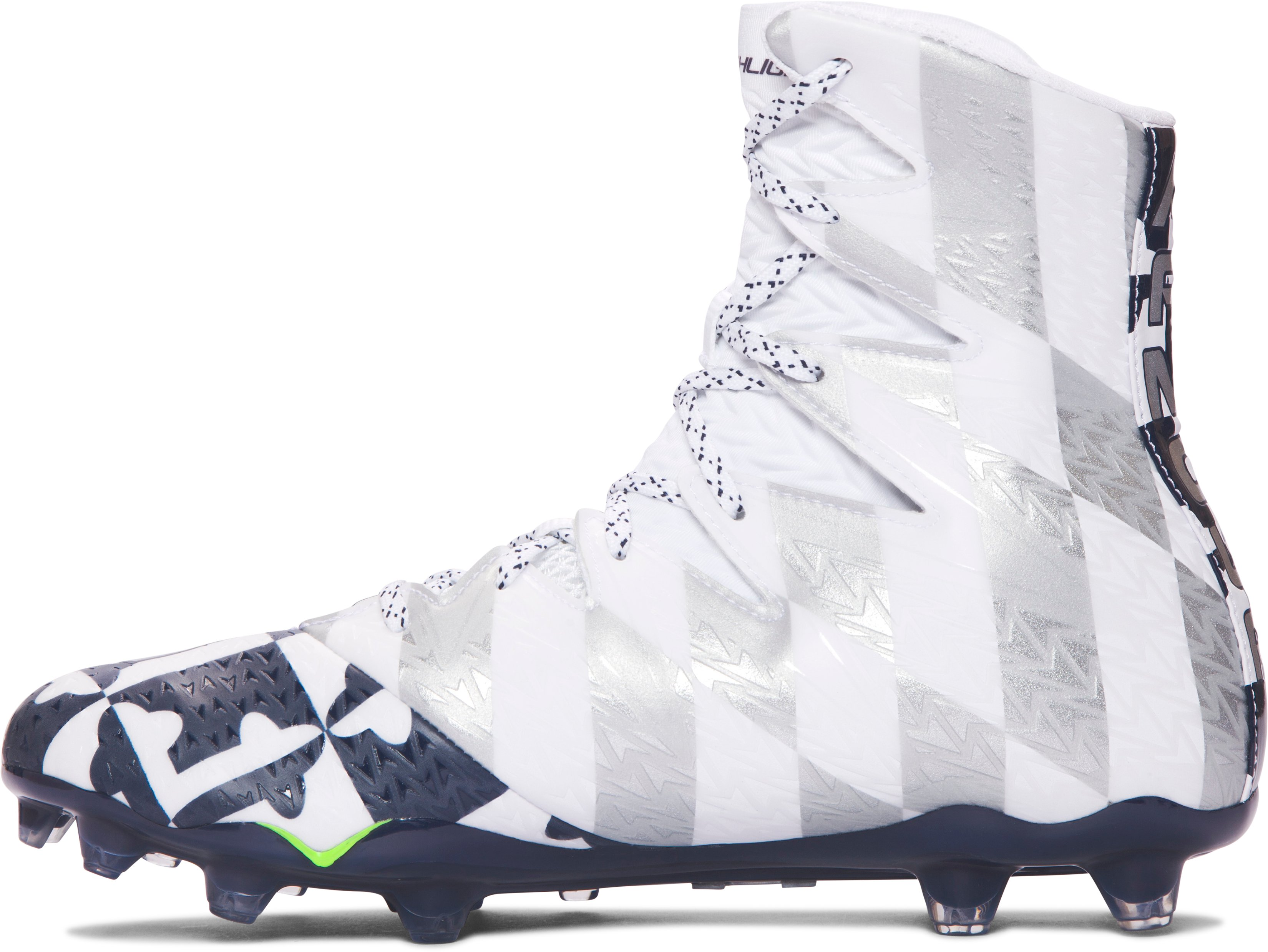 Men's UA Highlight MC Lacrosse Cleats, White, undefined