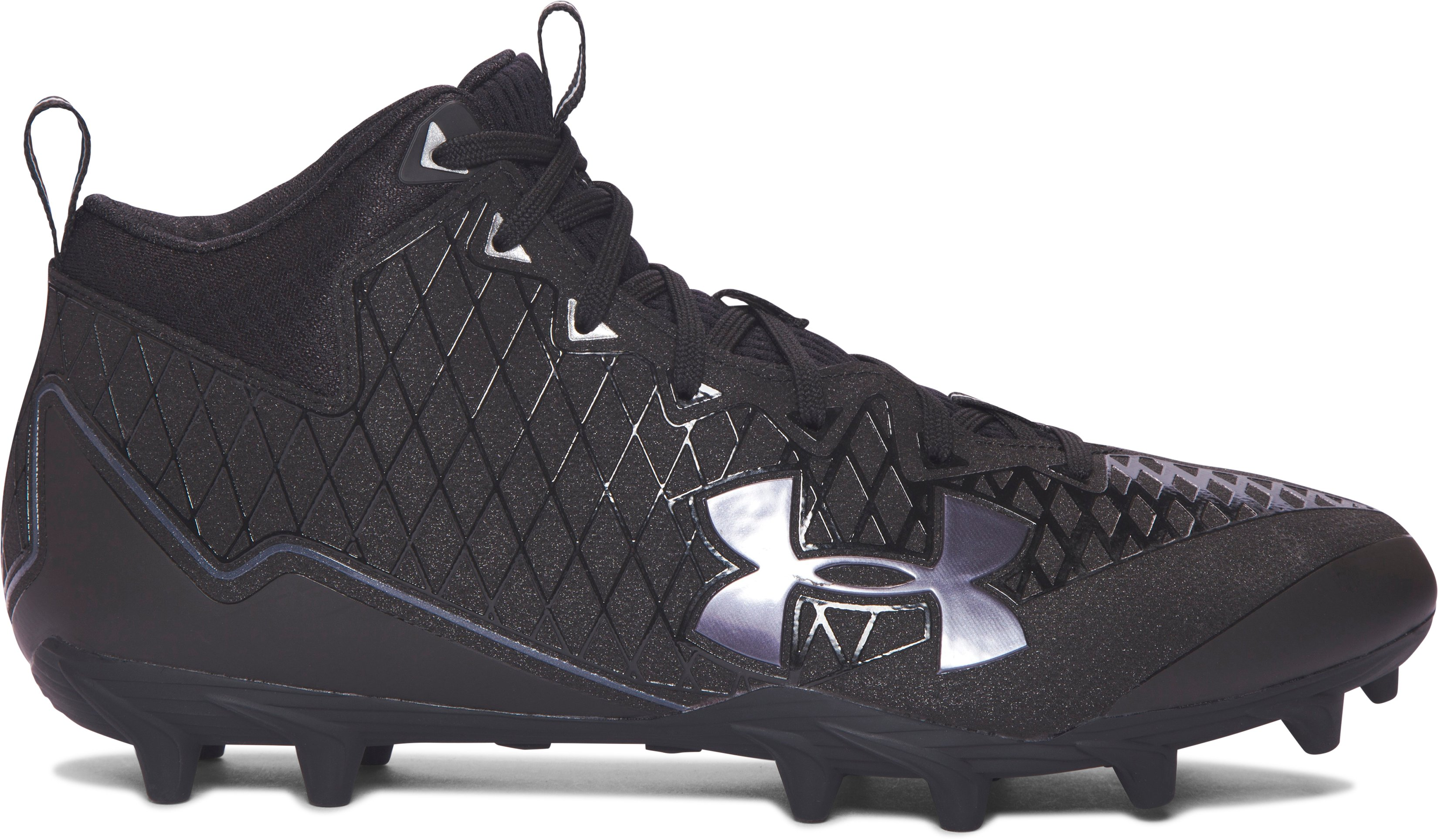 Men's UA Banshee Mid MC Lacrosse Cleats, Black , zoomed image