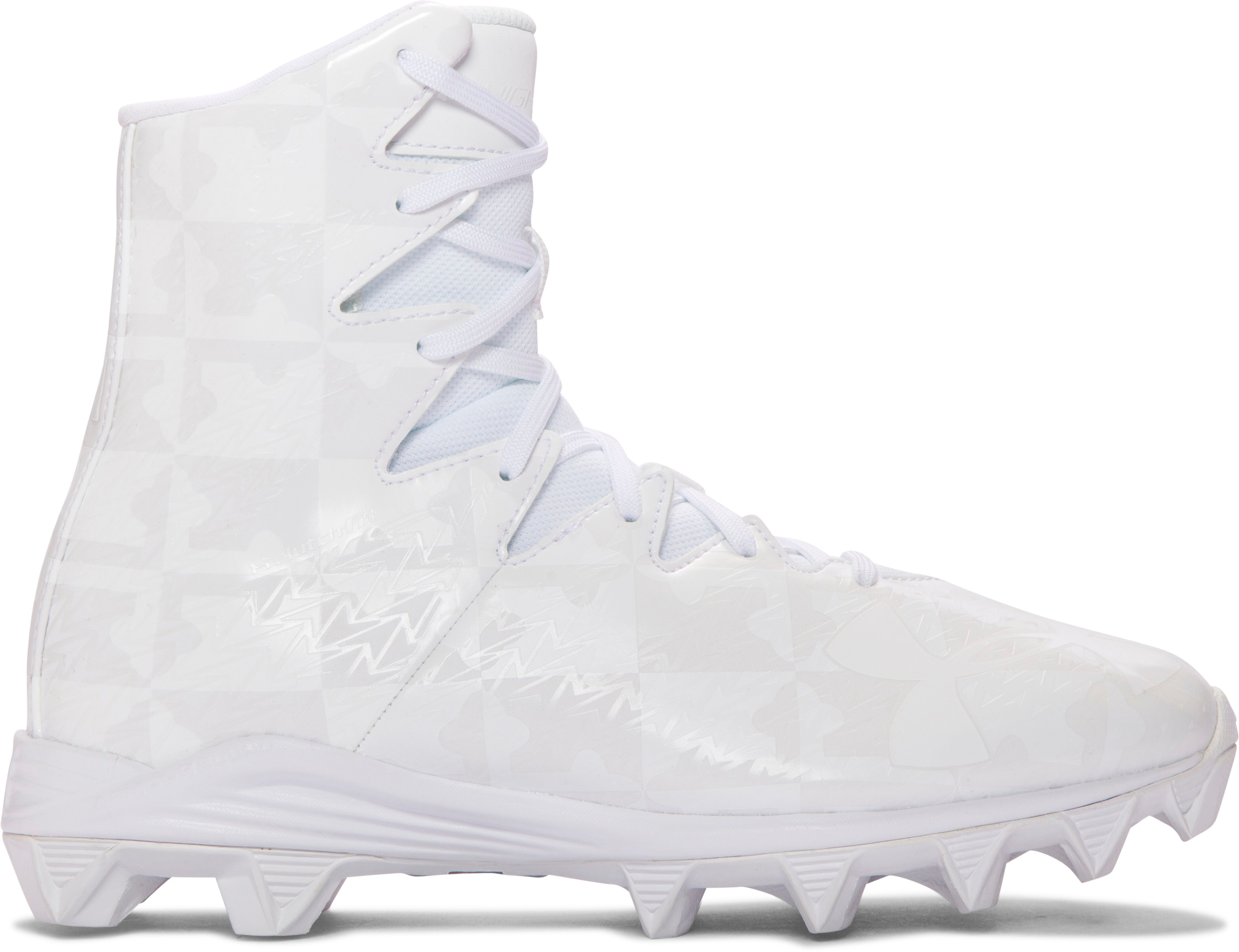 Boys' UA Highlight RM Jr. Lacrosse Cleats, White, undefined