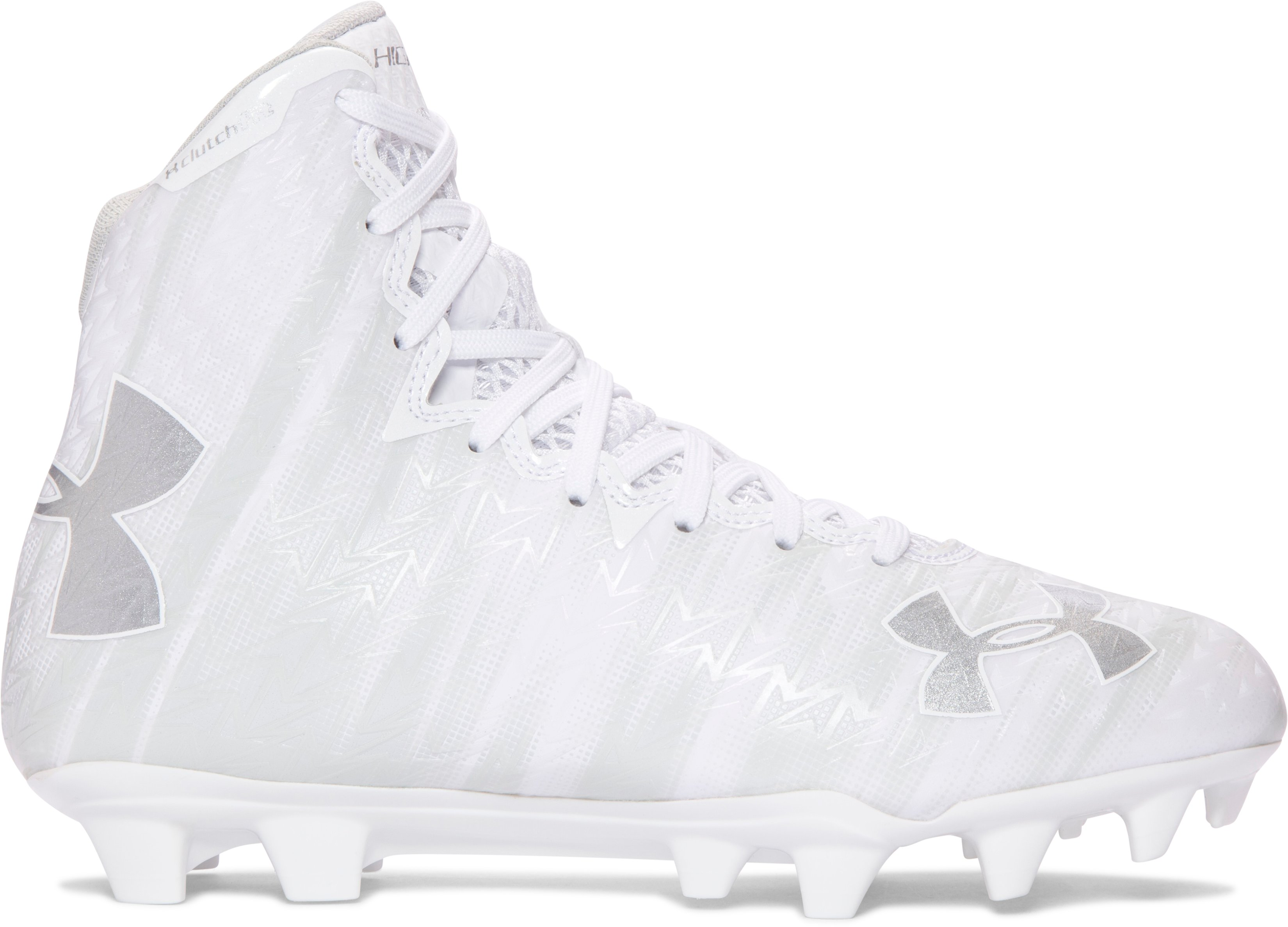 Women's UA Highlight MC Lacrosse Cleats, White, zoomed image