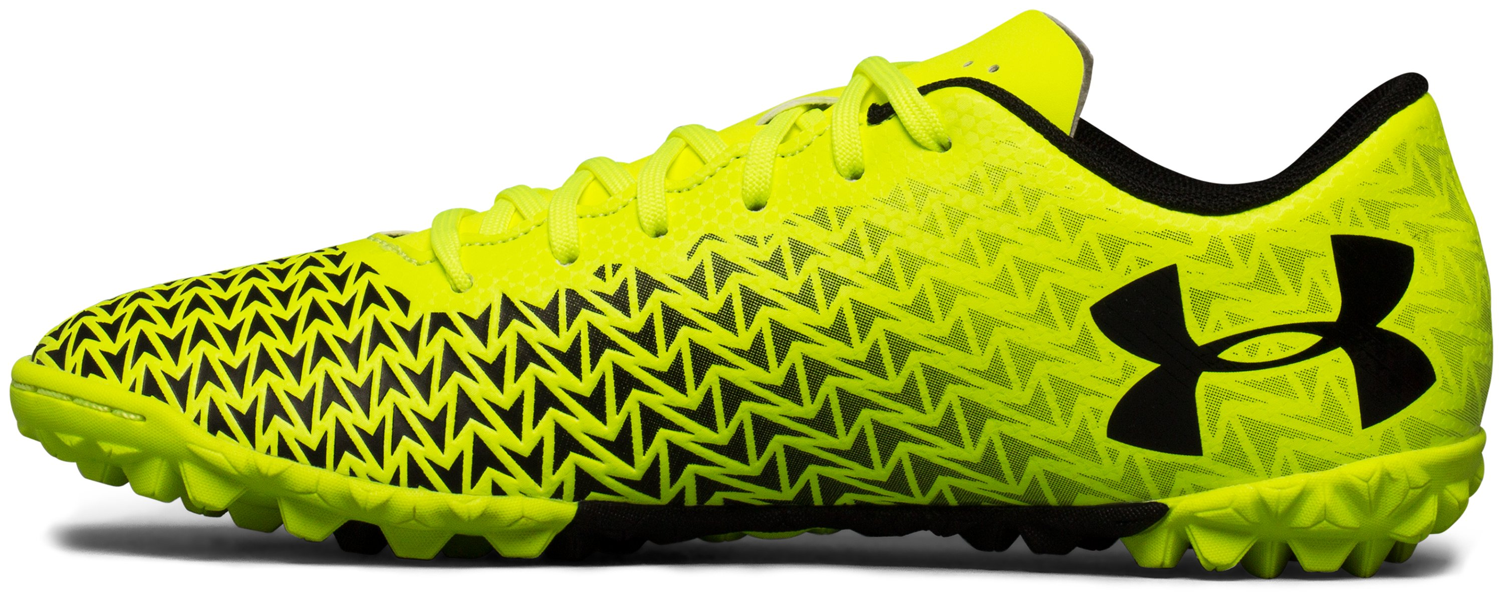 Boys' UA CF Force 3.0 Turf Jr. Soccer Shoes, High-Vis Yellow,
