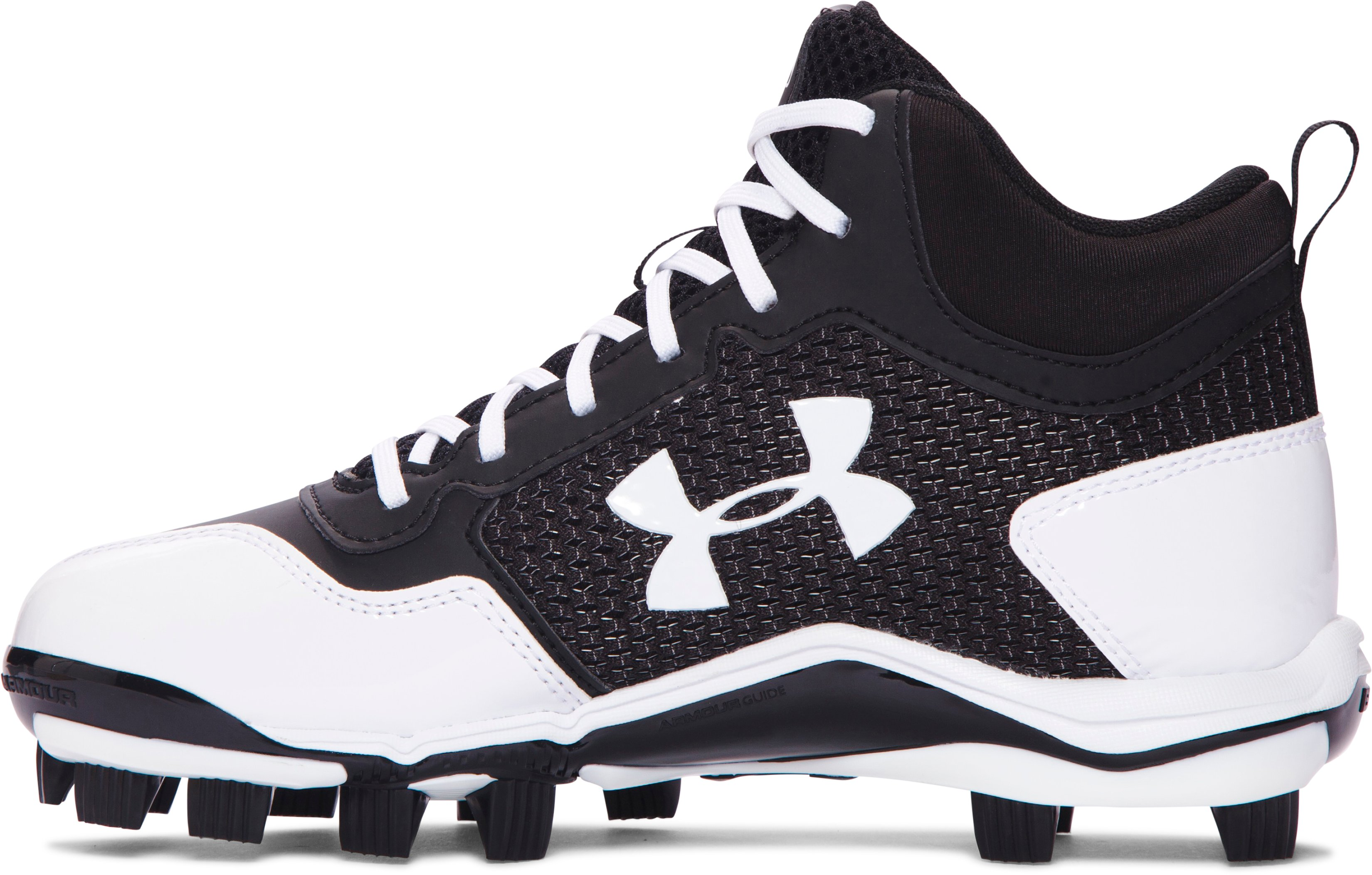 Boys' UA Heater Mid TPU Jr. Baseball Cleats, Black ,