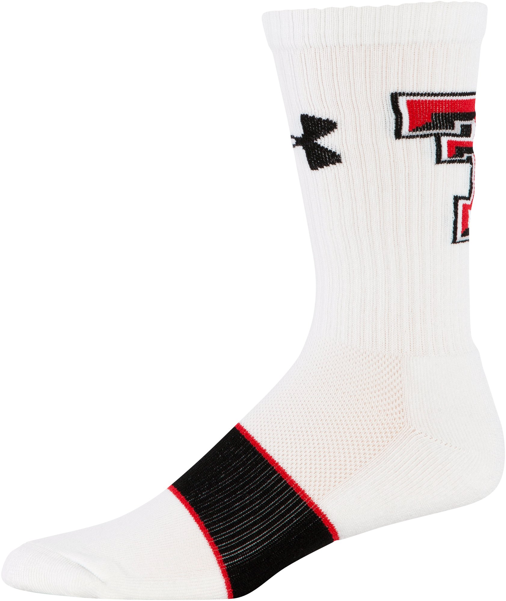 Men's Texas Tech UA Crew Socks, White,