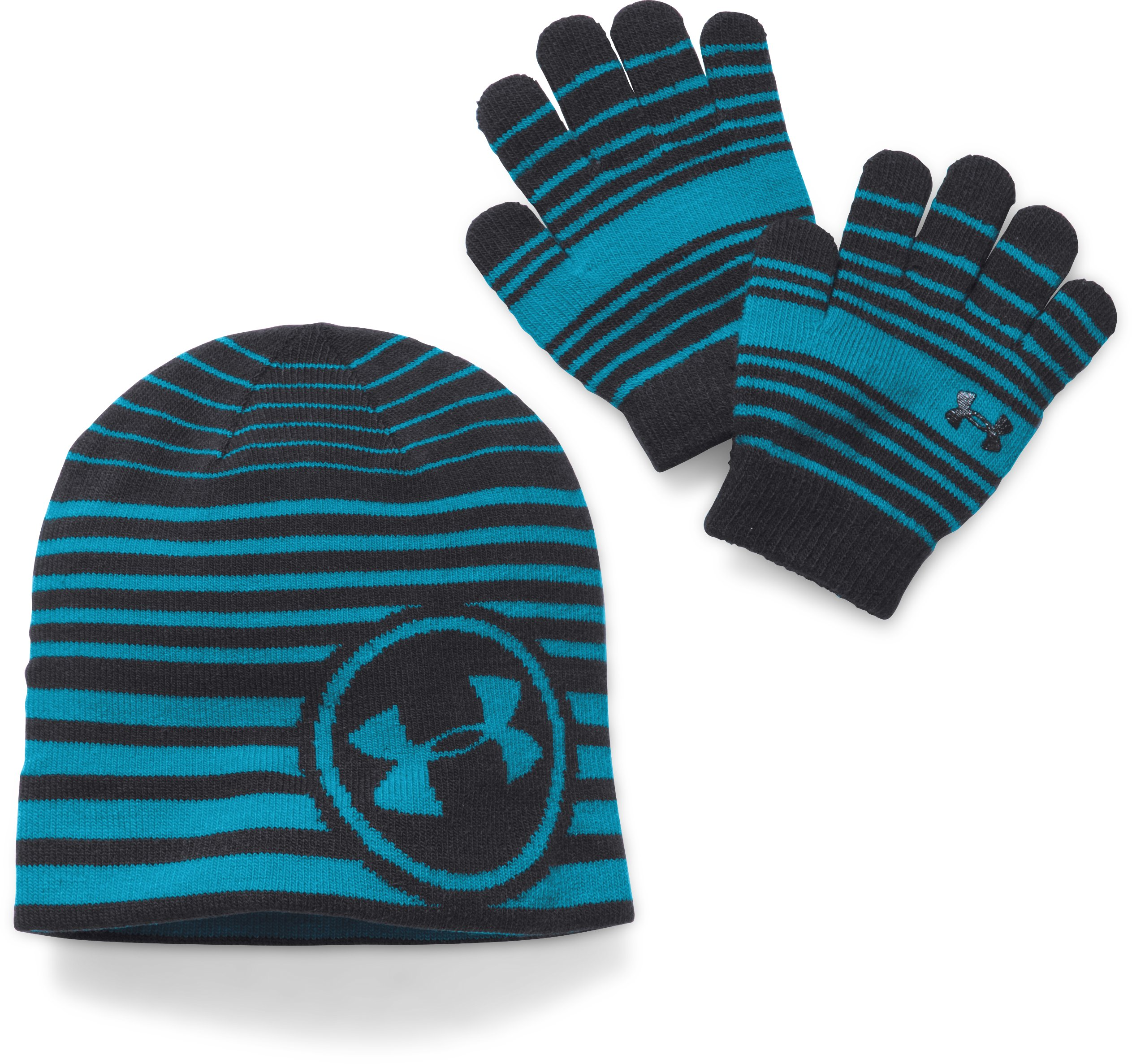 Kids' UA Beanie & Glove Combo Pack, Black , zoomed image