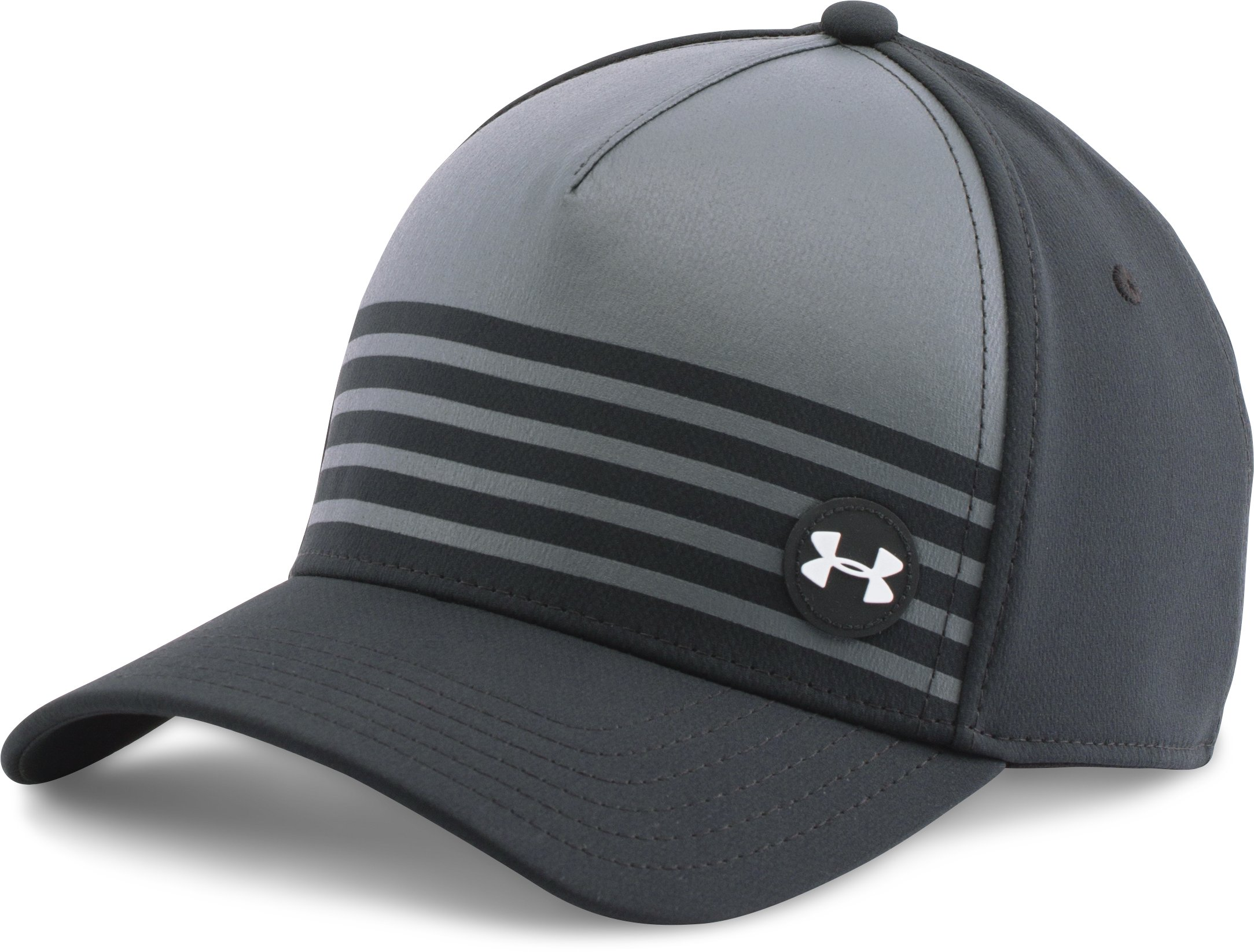 Men's UA Golf Striped Out Cap, Black , undefined
