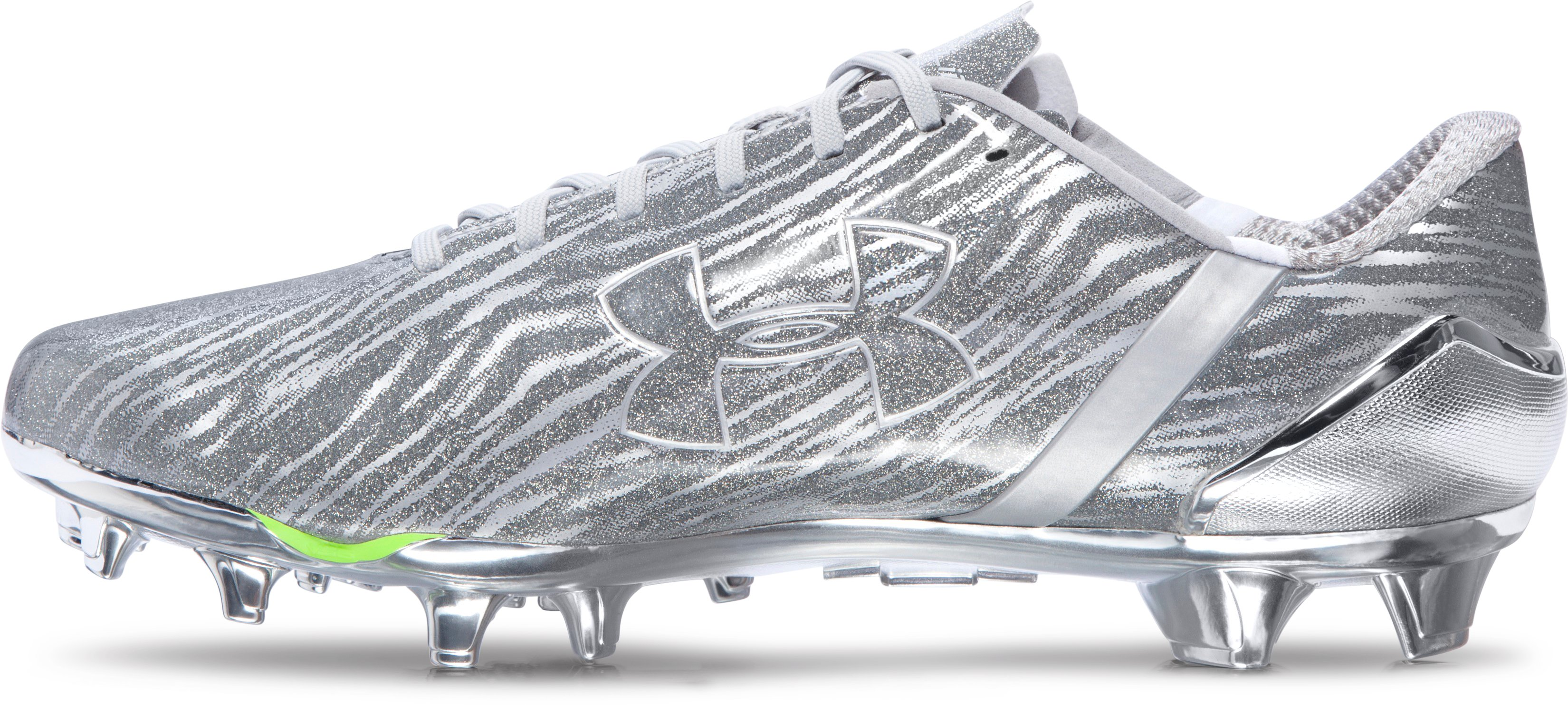 Men's UA Spotlight Football Cleats, Metallic Silver,