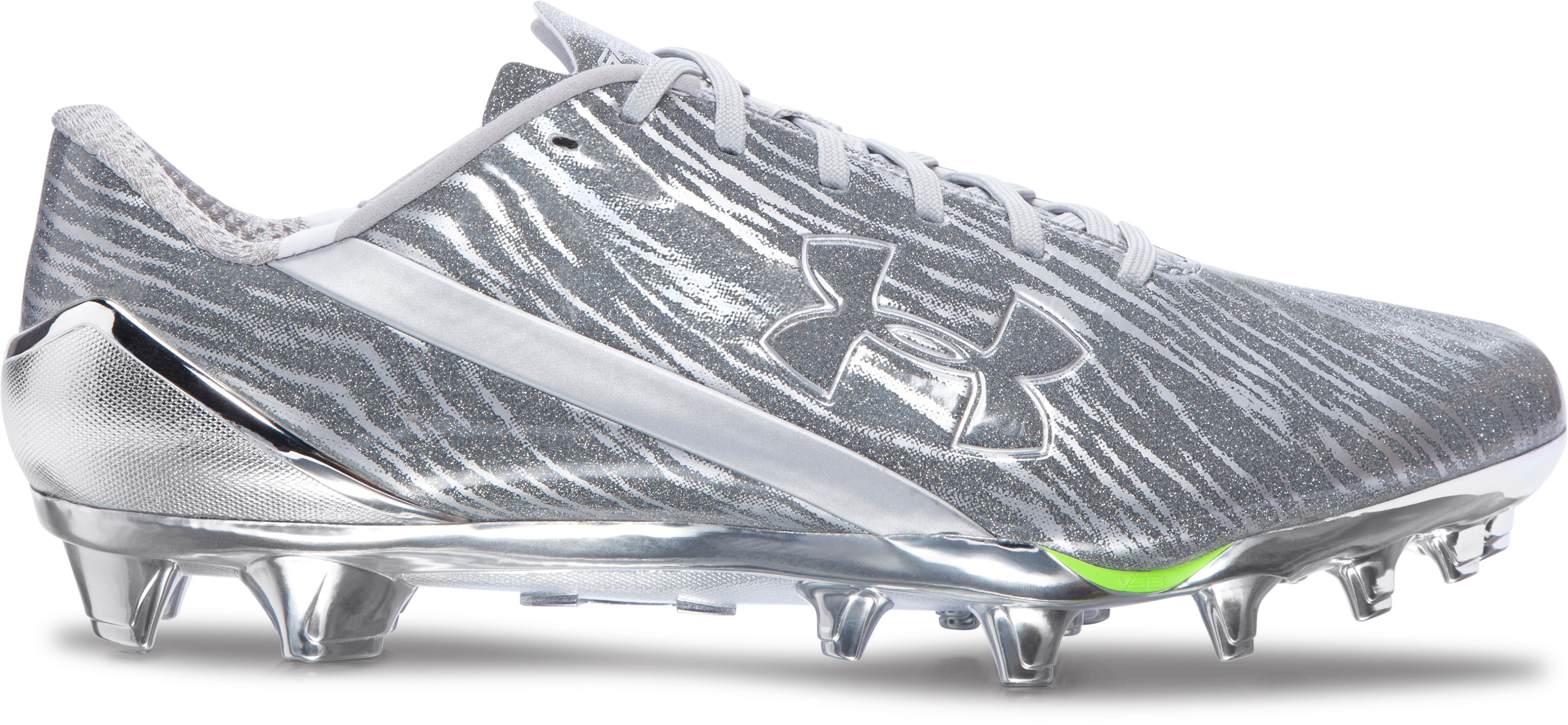 Men's UA Spotlight Football Cleats, Metallic Silver