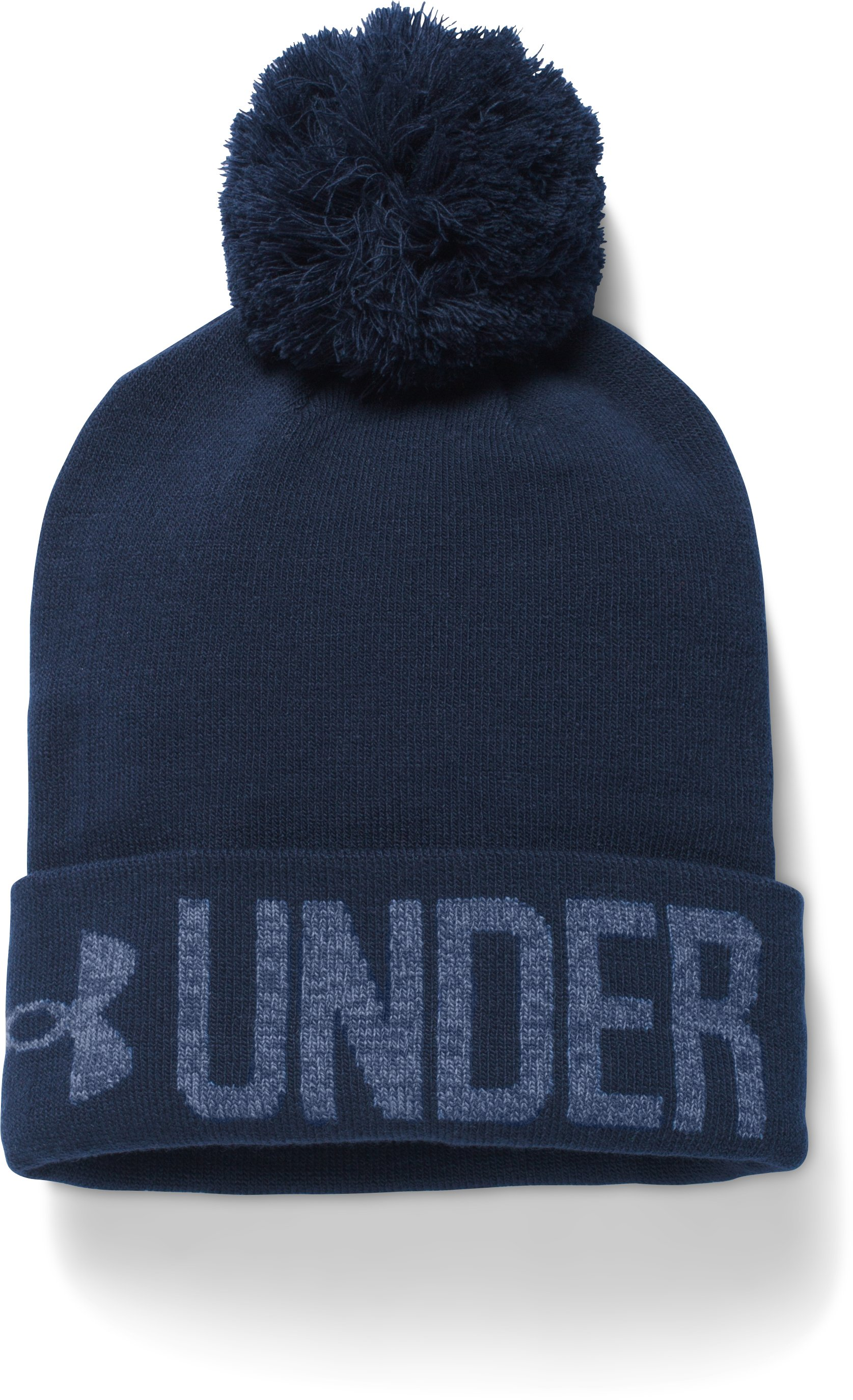 Women's UA Graphic Pom Beanie, Midnight Navy, zoomed image
