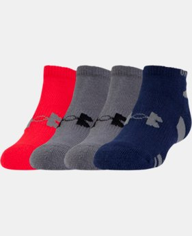 Boys' UA HeatGear® No Show 4-Pack Socks