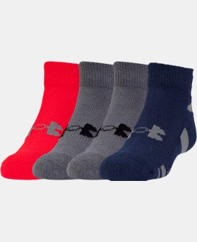 Boys' UA HeatGear® Lo Cut 4-Pack Socks