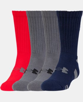Boys' UA HeatGear® Crew 4-Pack Socks