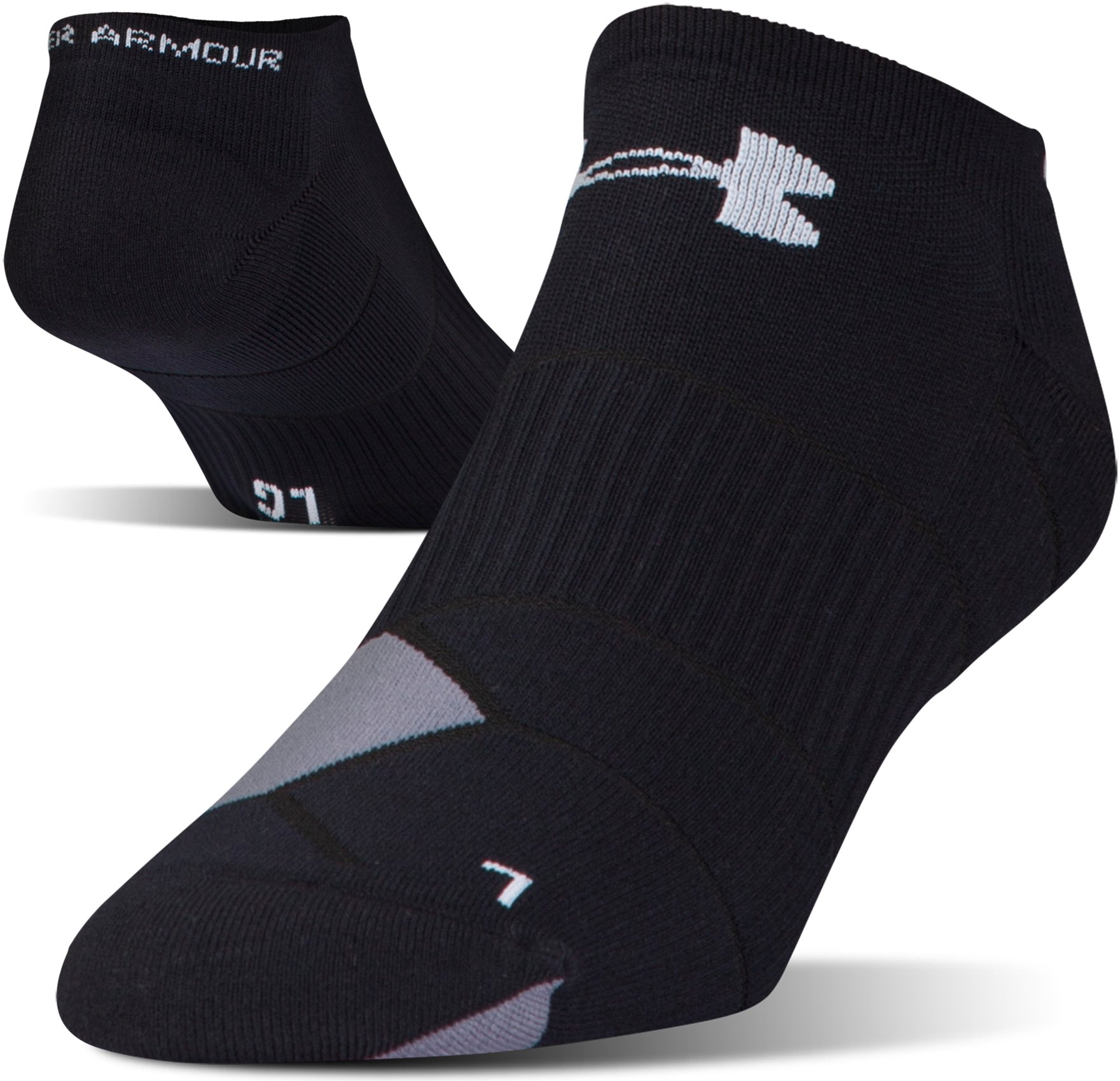 Men's UA Launch No Show Running Socks, Black