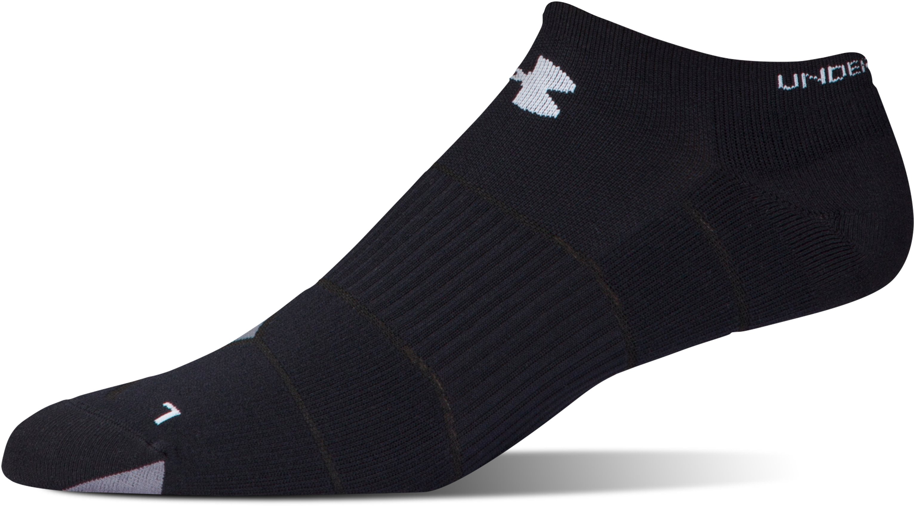 Men's UA Launch No Show Running Socks, Black ,