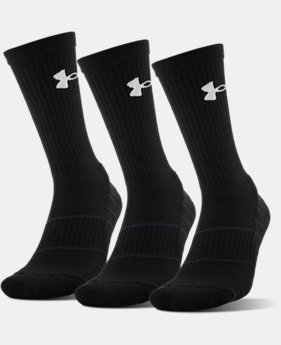 Best Seller Men's UA Performance Crew Socks – 3-Pack  4 Colors $19.99