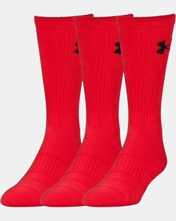 UA Performance Crew Socks - 3-Pack, Red, pdpMainDesktop image number 0