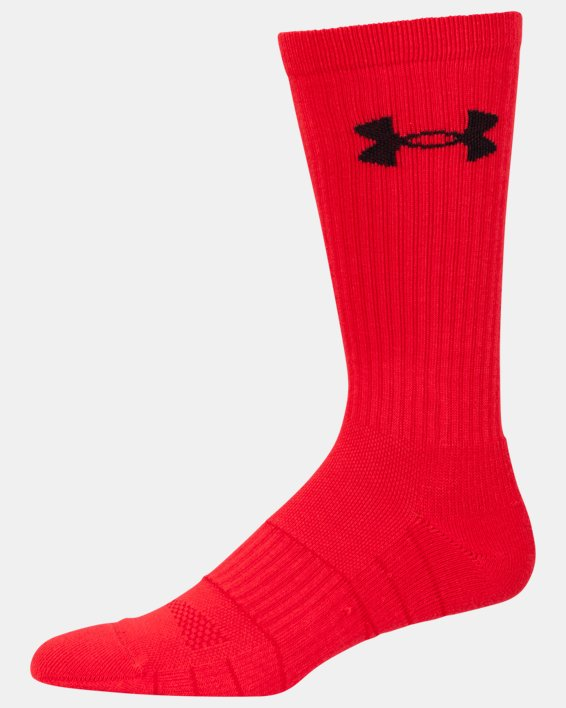 UA Performance Crew Socks - 3-Pack, Red, pdpMainDesktop image number 10