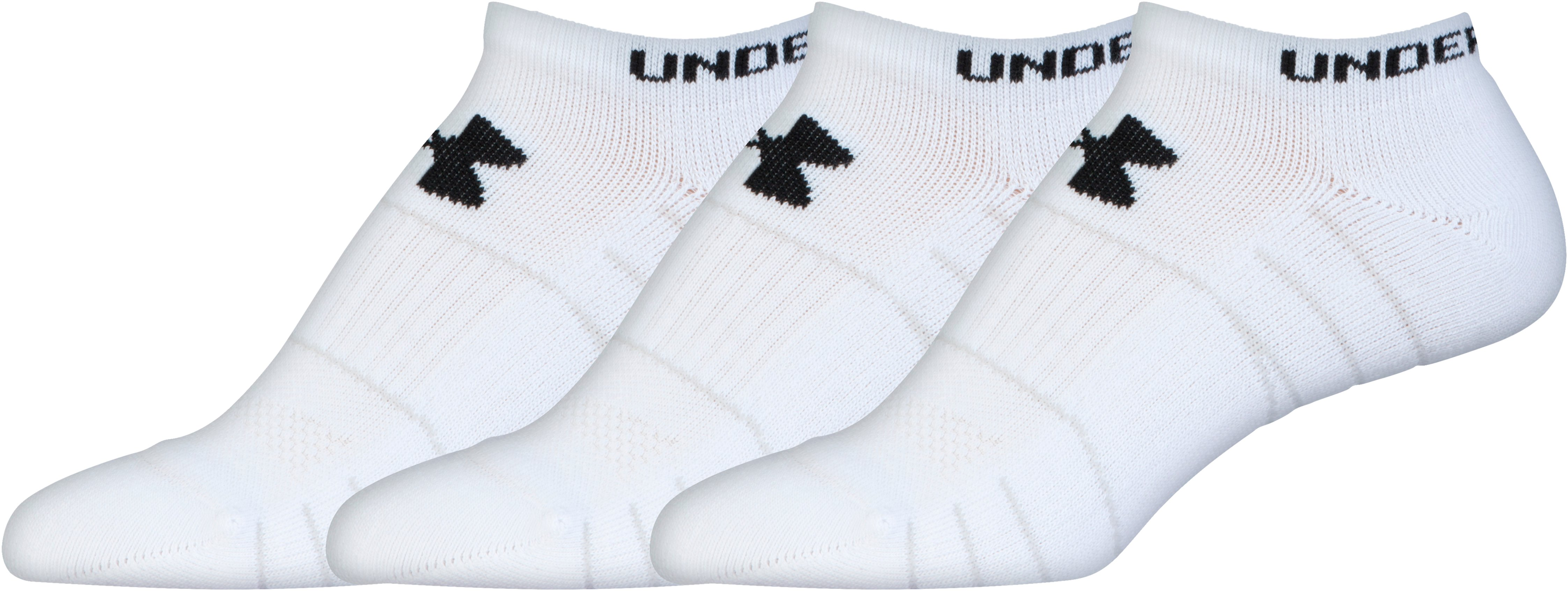 Women's UA Performance No Show Socks 3-Pack, White, zoomed image