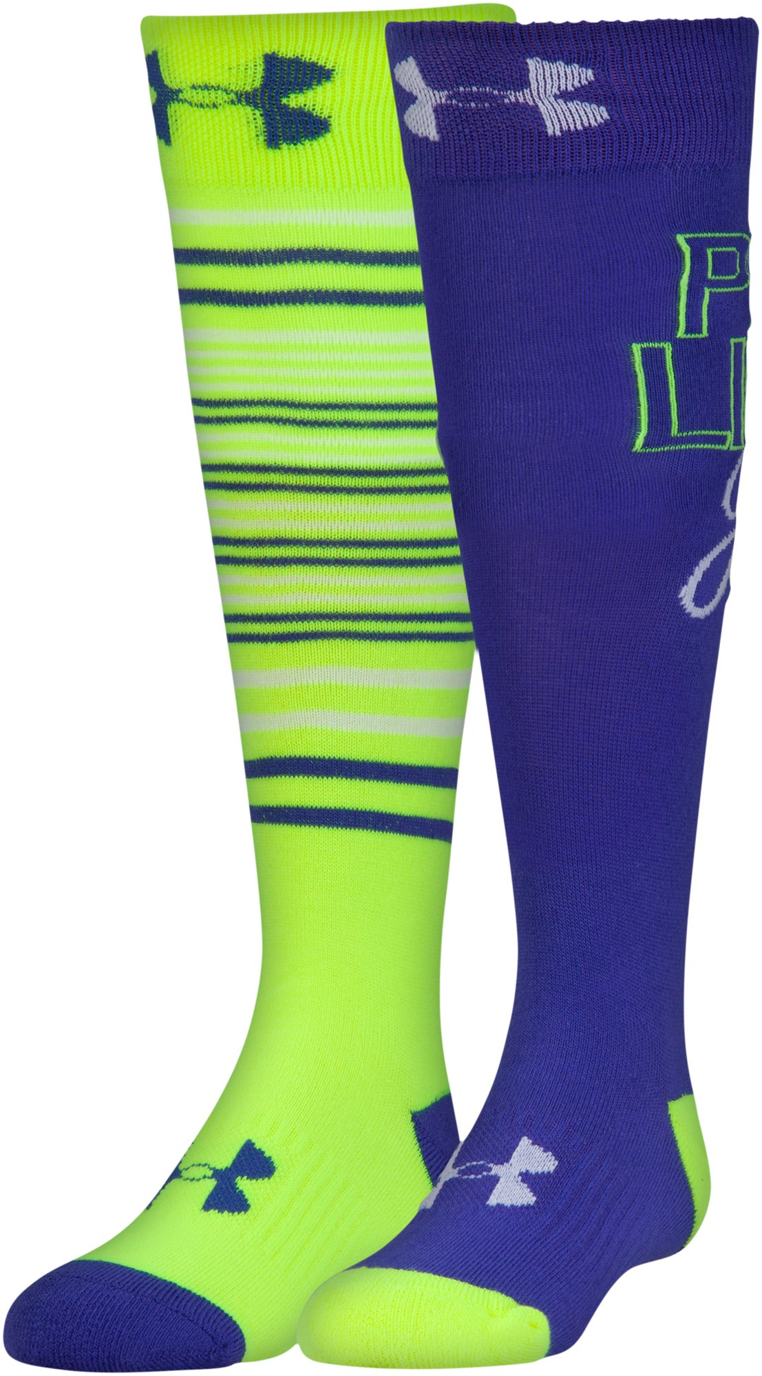 Girls' UA Like A Girl Knee High Socks— – 2-Pack, HYPER GREEN,