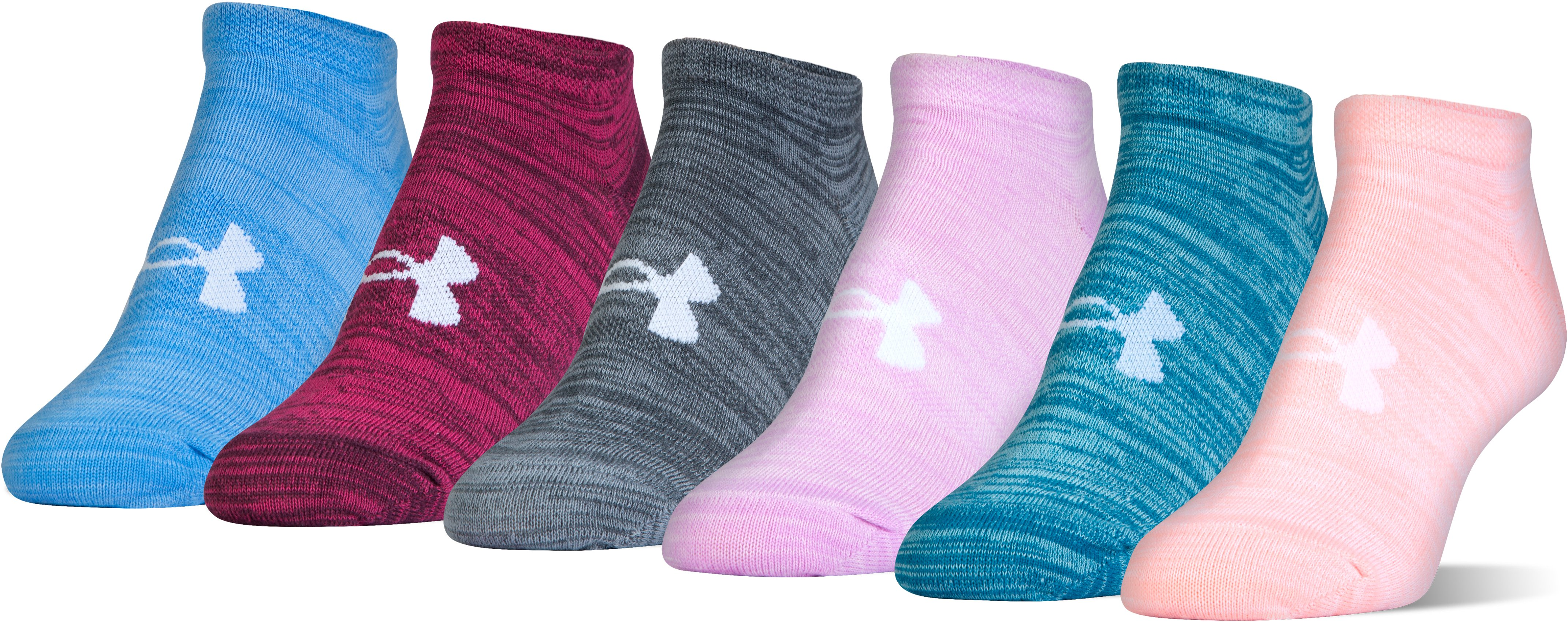 Women's UA Twist No Show Socks— 6-Pack, PINK SANDS,