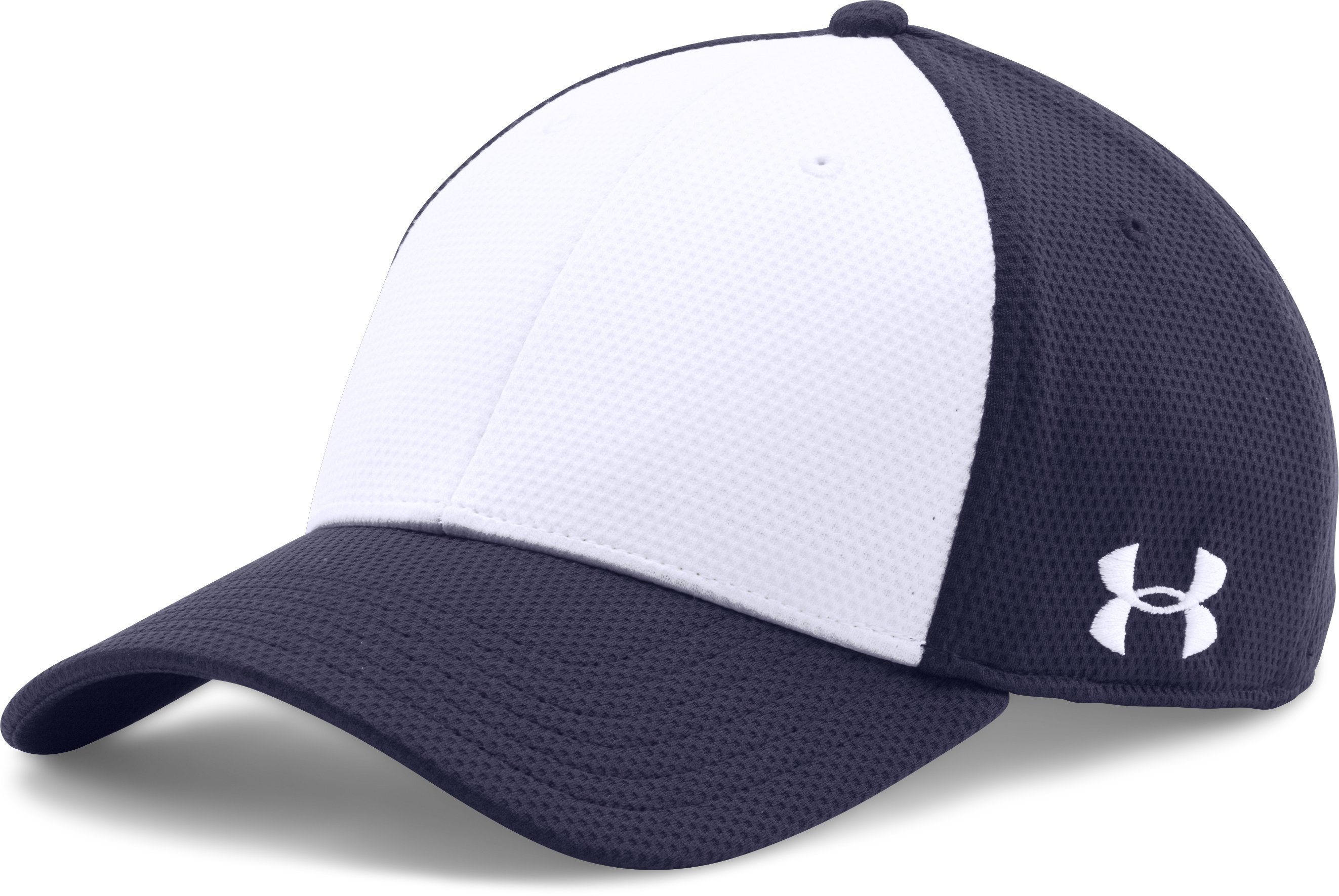 Men's UA Color Blocked Stretch Fit Cap, Midnight Navy,
