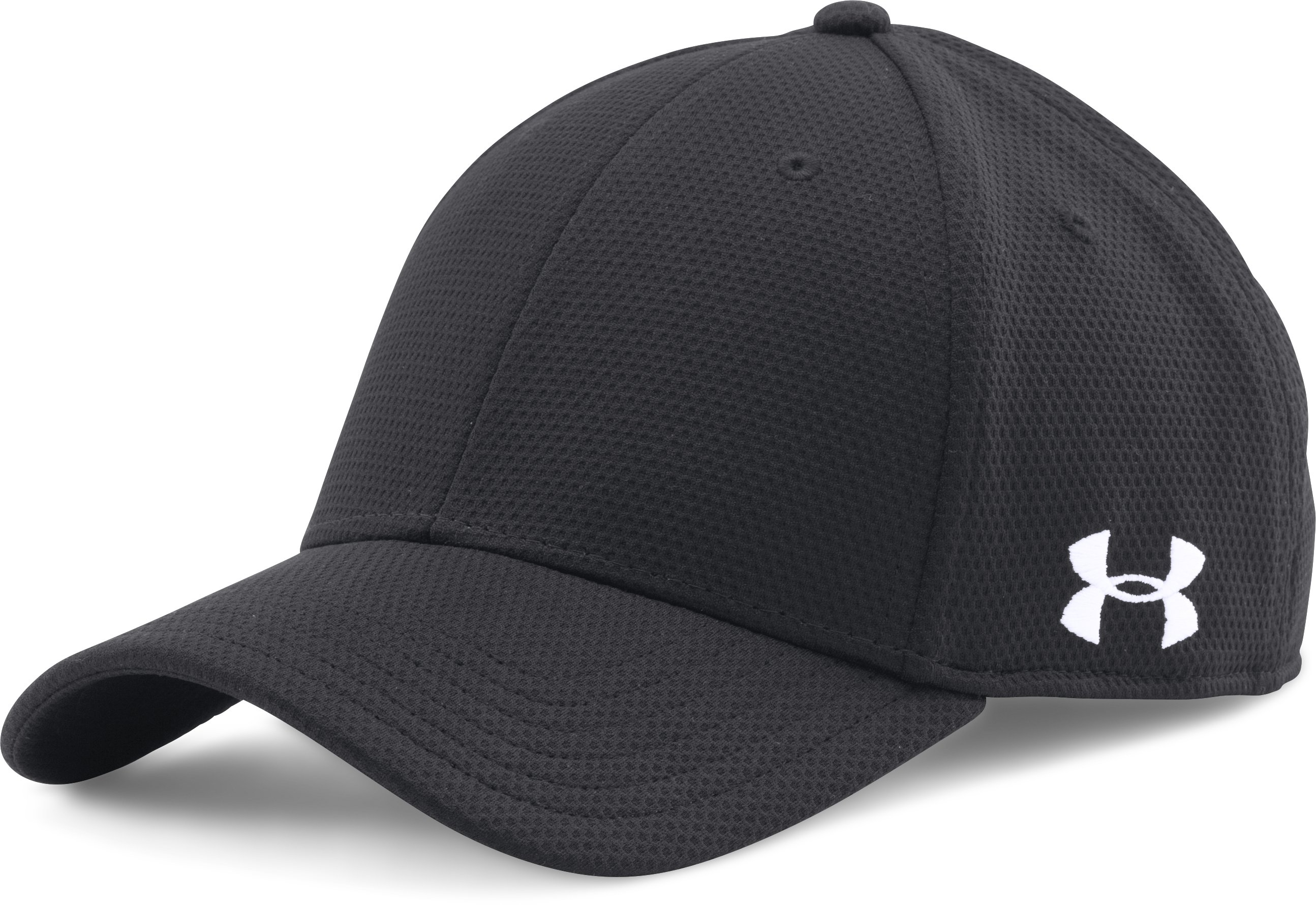 Men's UA Curved Brim Stretch Fit Cap, Black