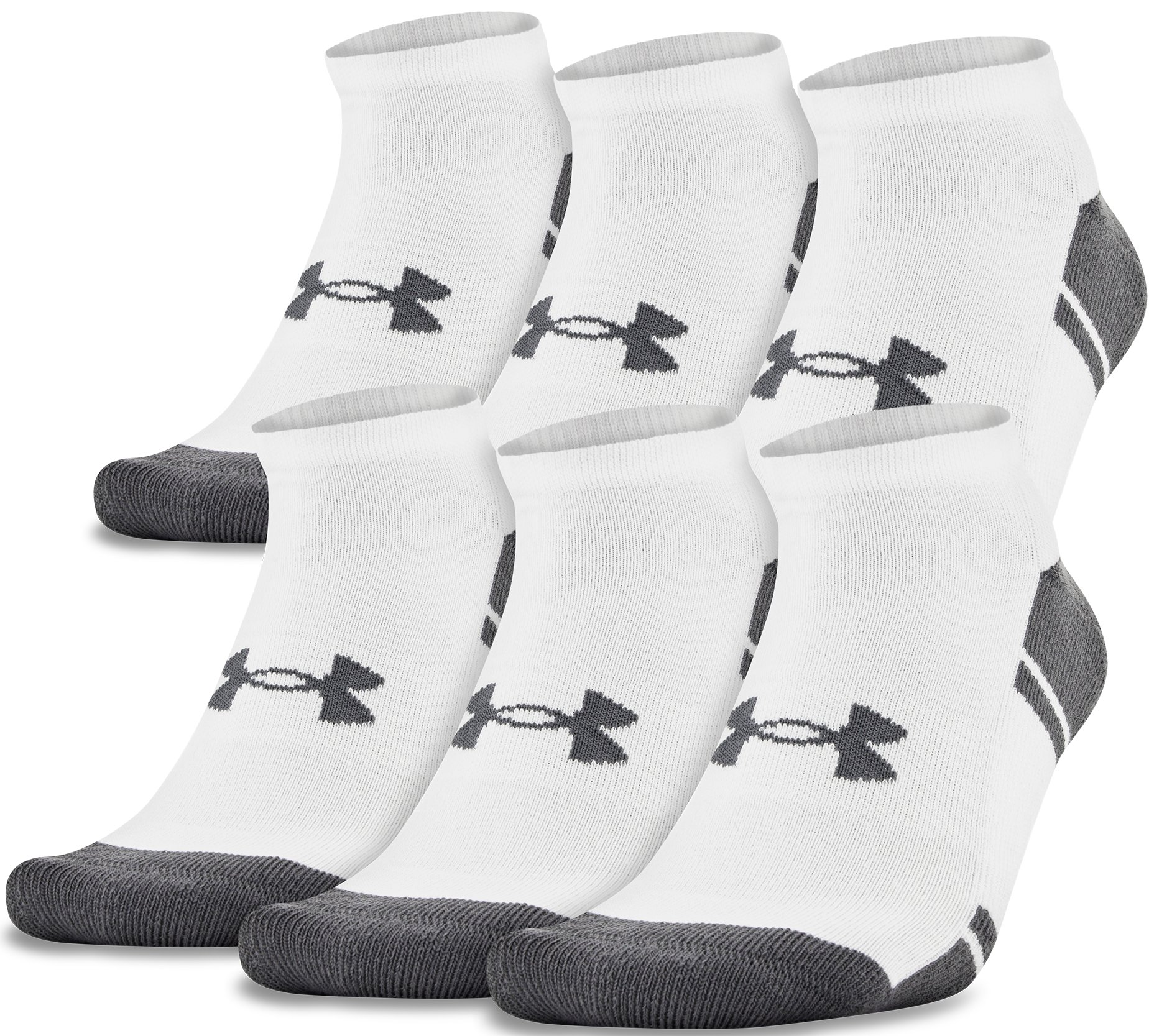 white over the calf socks UA Resistor III No Show Socks – 6-Pack They come in black and <strong>white</strong>.