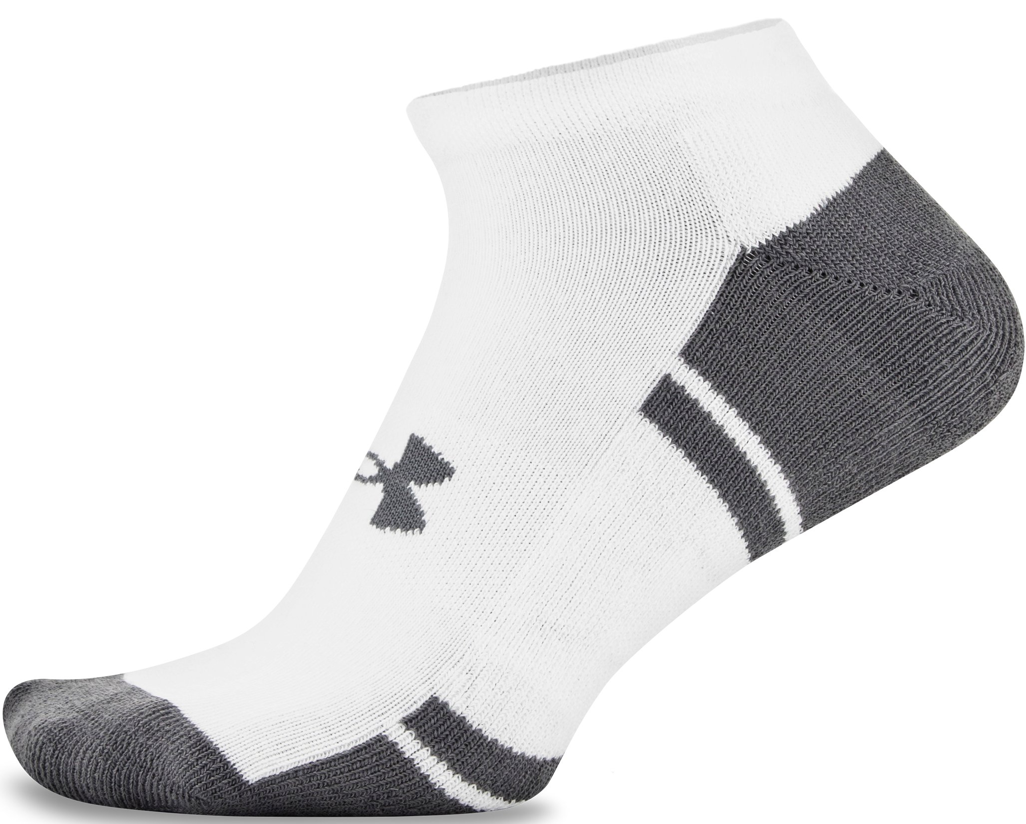 UA Resistor III No Show Socks – 6-Pack, White, undefined