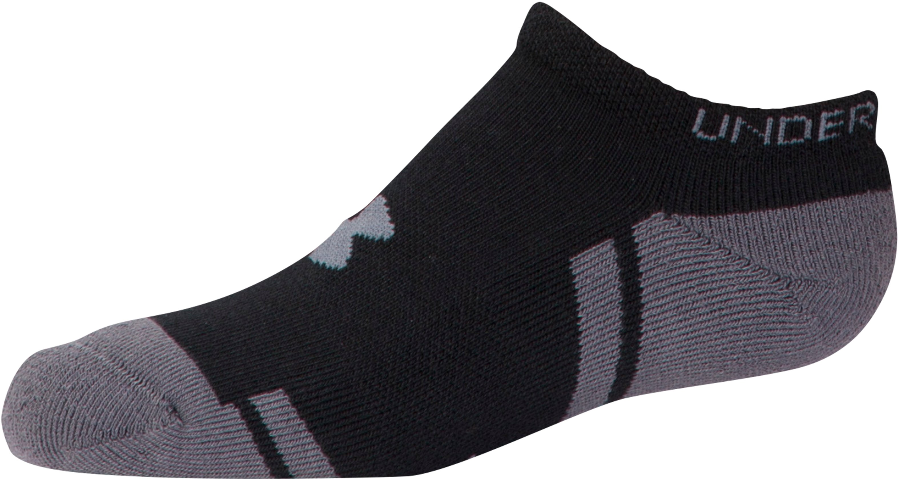 Boys' UA Resistor III No Show Socks – 6-Pack, Black ,