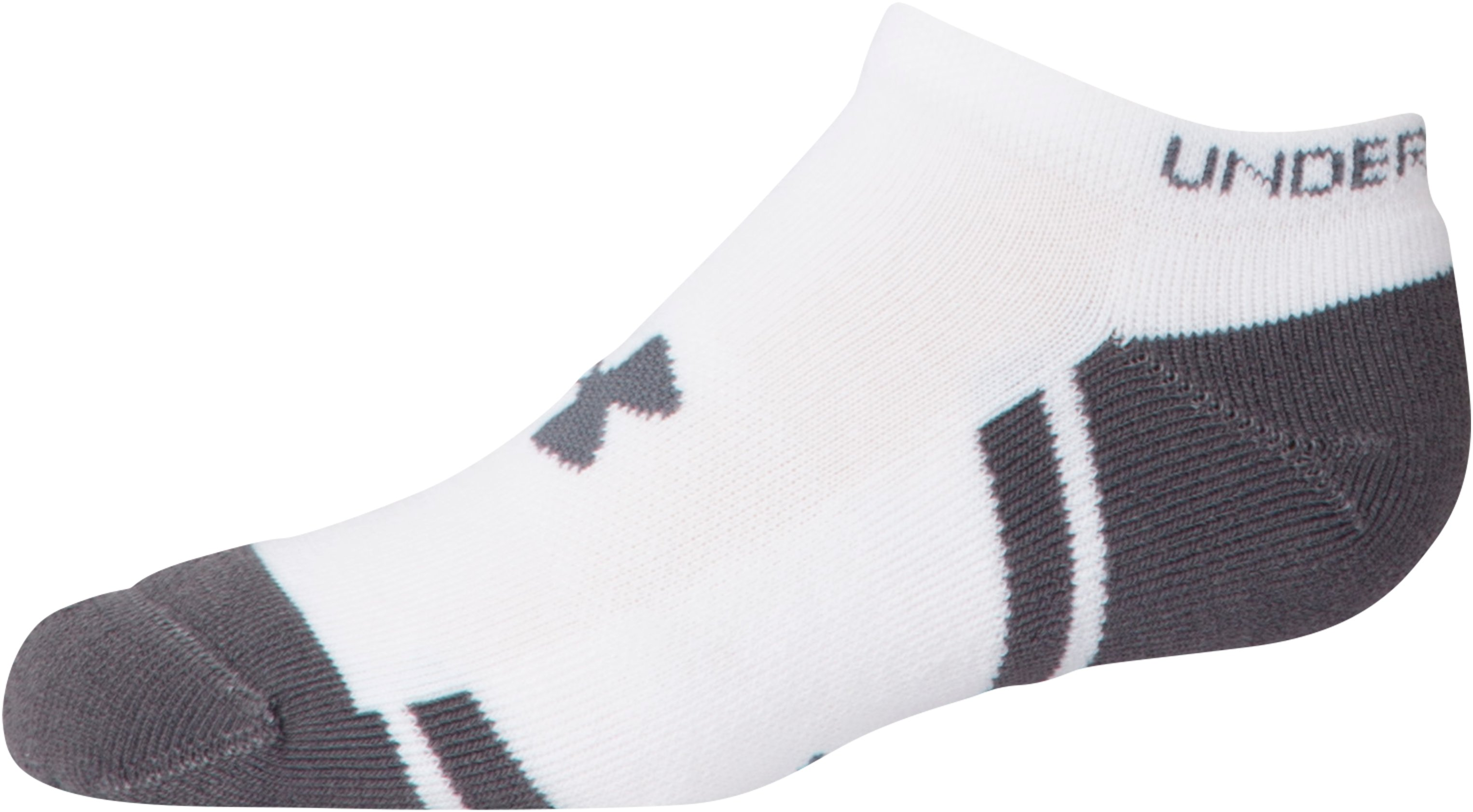 Boys' UA Resistor III No Show Socks – 6-Pack, White,