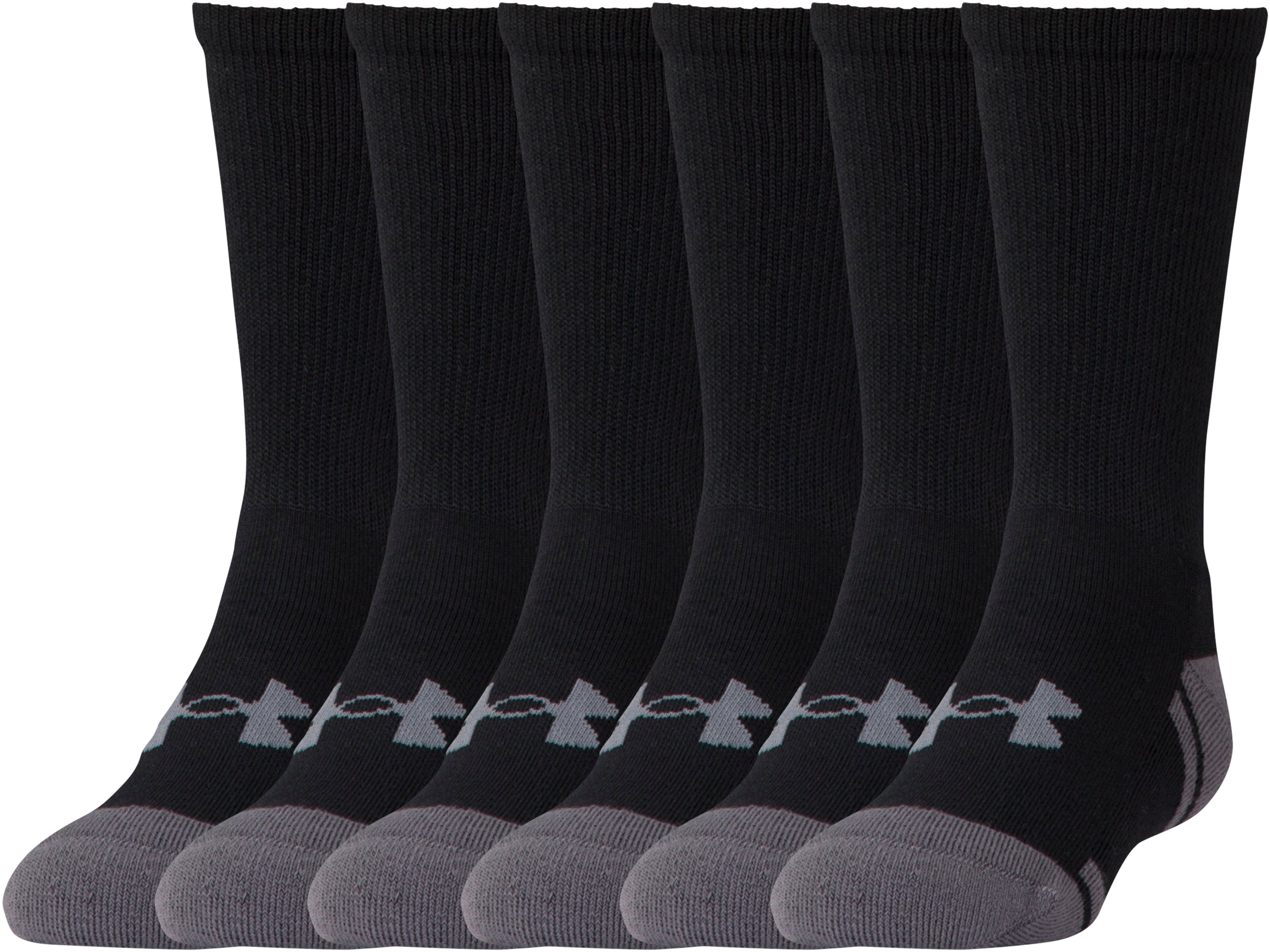 Boys' UA Resistor III Crew Socks – 6-Pack, Black