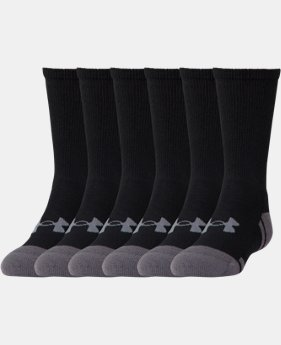 Best Seller Boys' UA Resistor III Crew Socks – 6-Pack  2 Colors $21