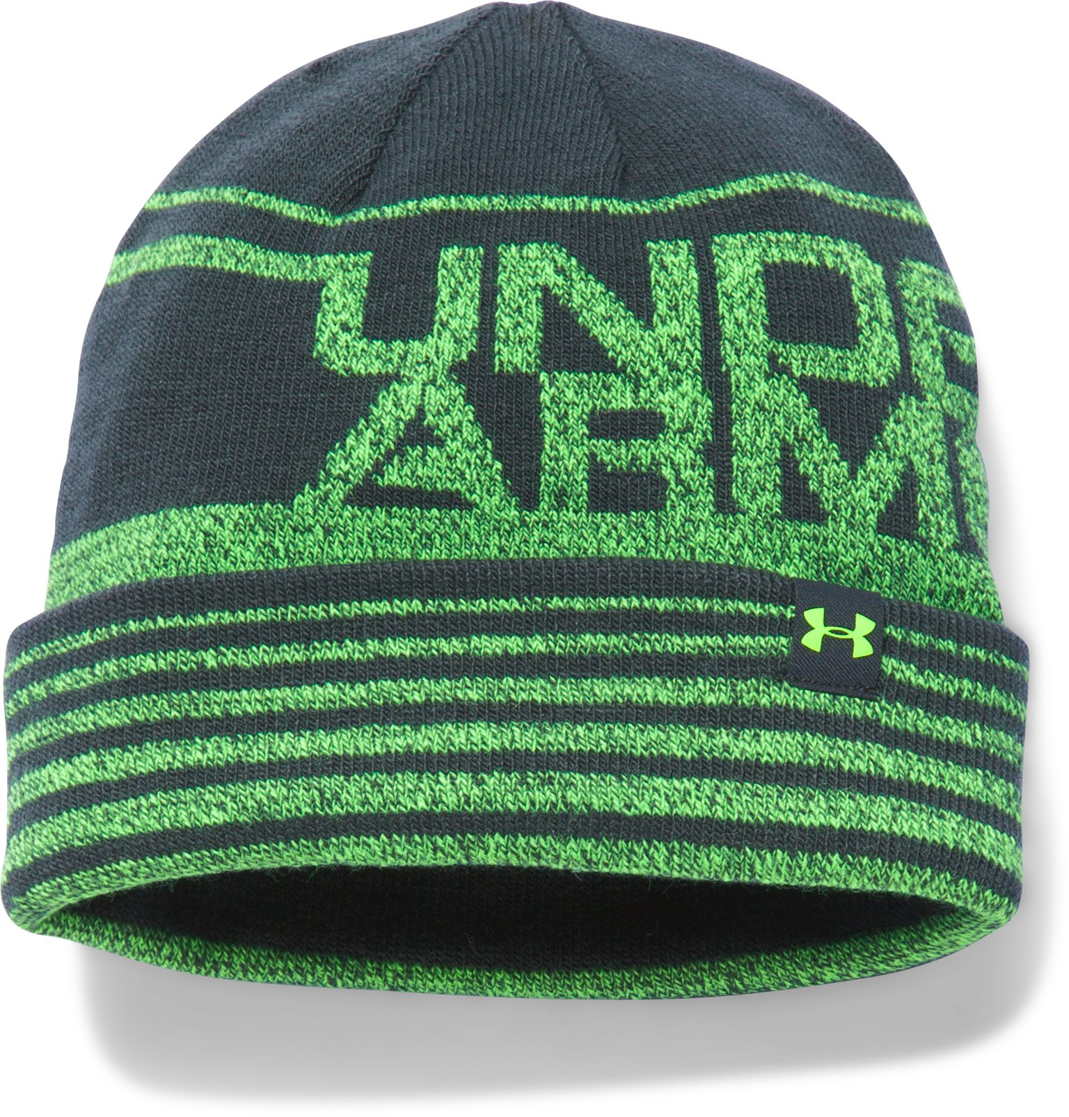 Boys' UA Cuff Billboard Beanie, STEALTH GRAY